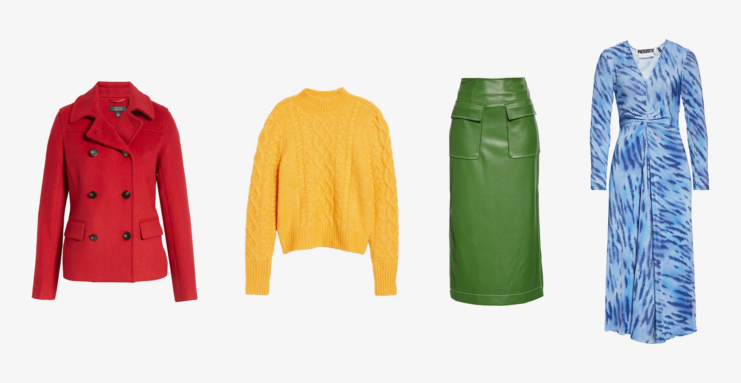 red womens jacket, yellow womens sweater, green leather skirt, blue dress