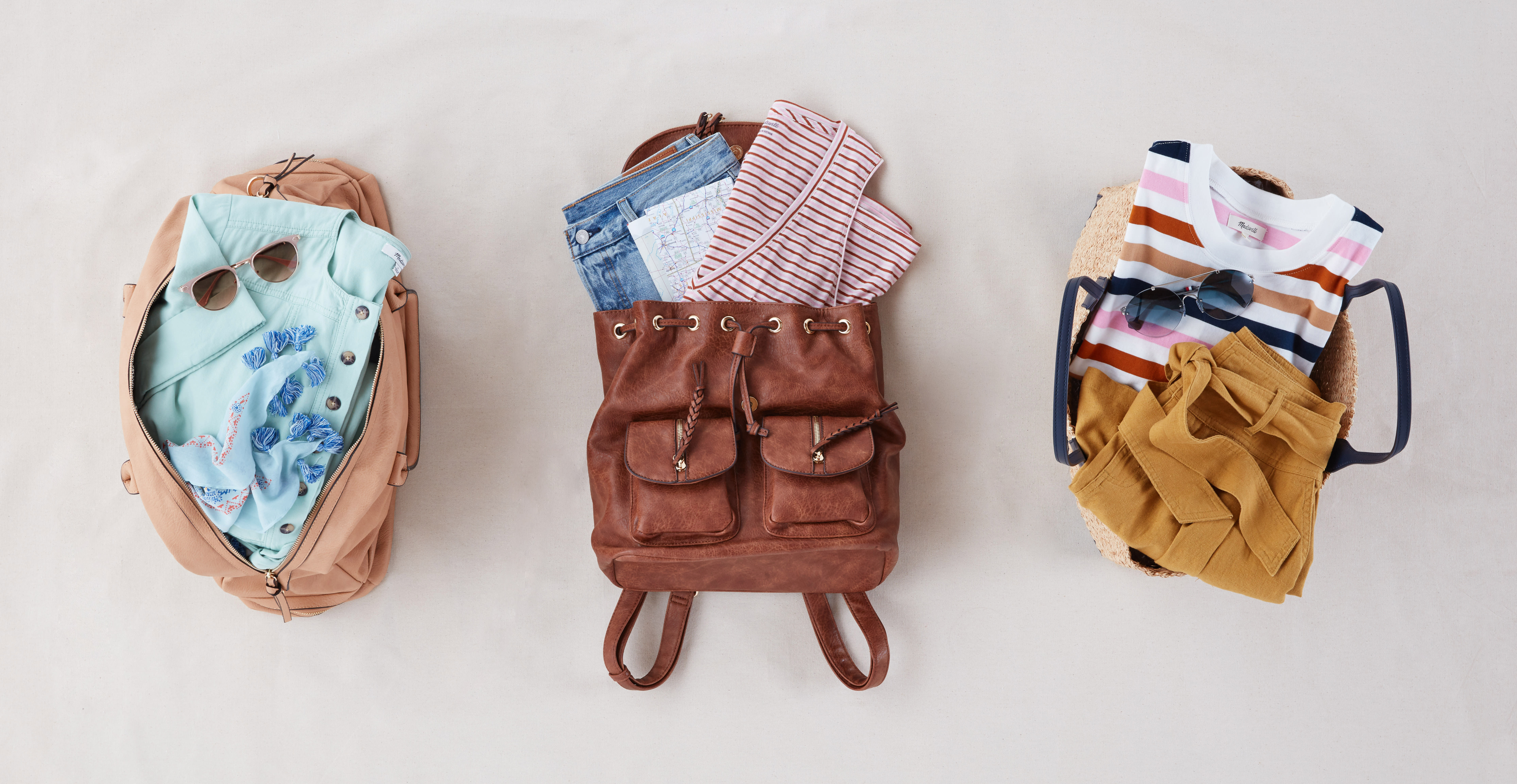 Weekend bags filled with Memorial Day outfits