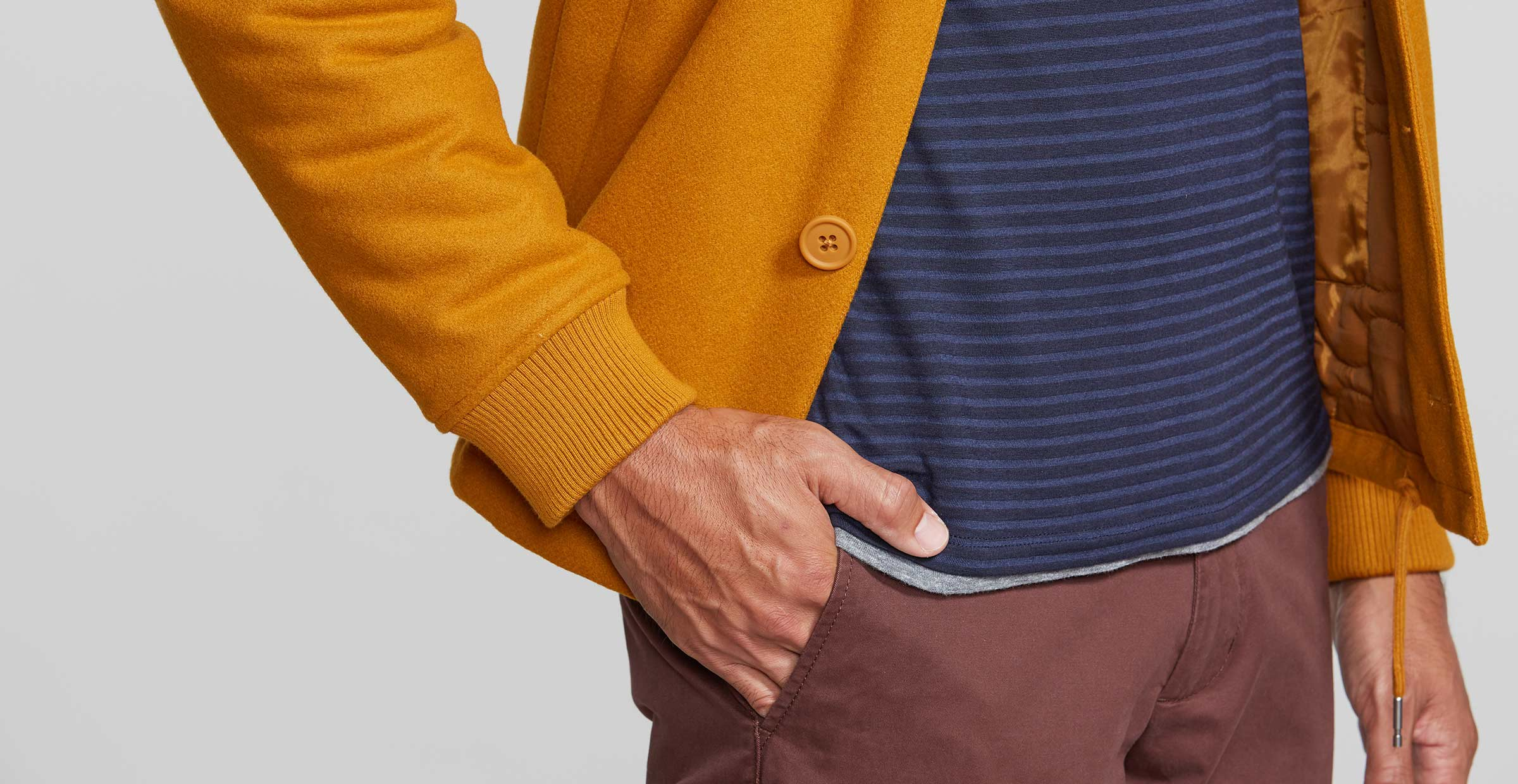 Detail shot of men's layered fall outfit