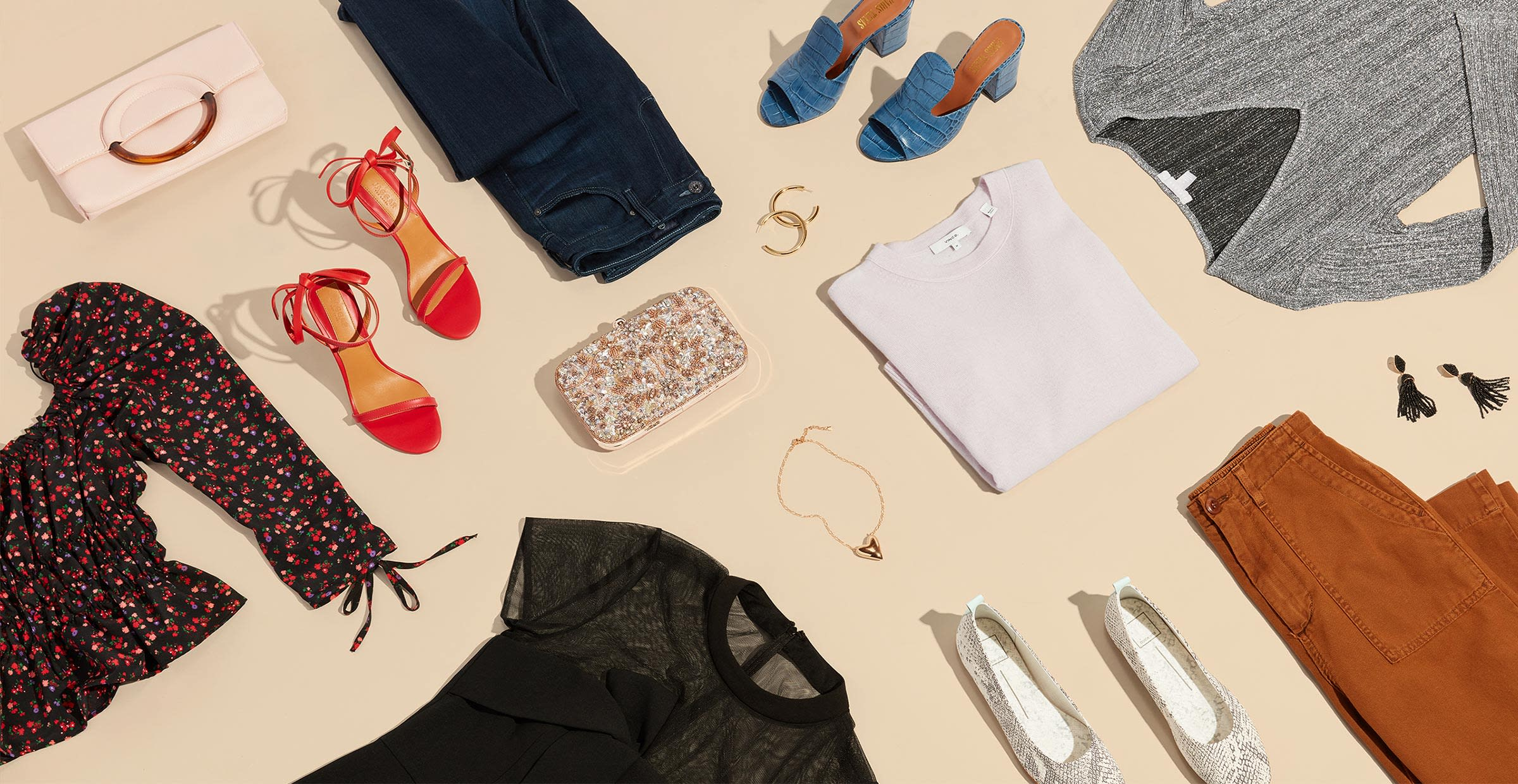 Women's dresses, blouse, pants, shoes, and purses