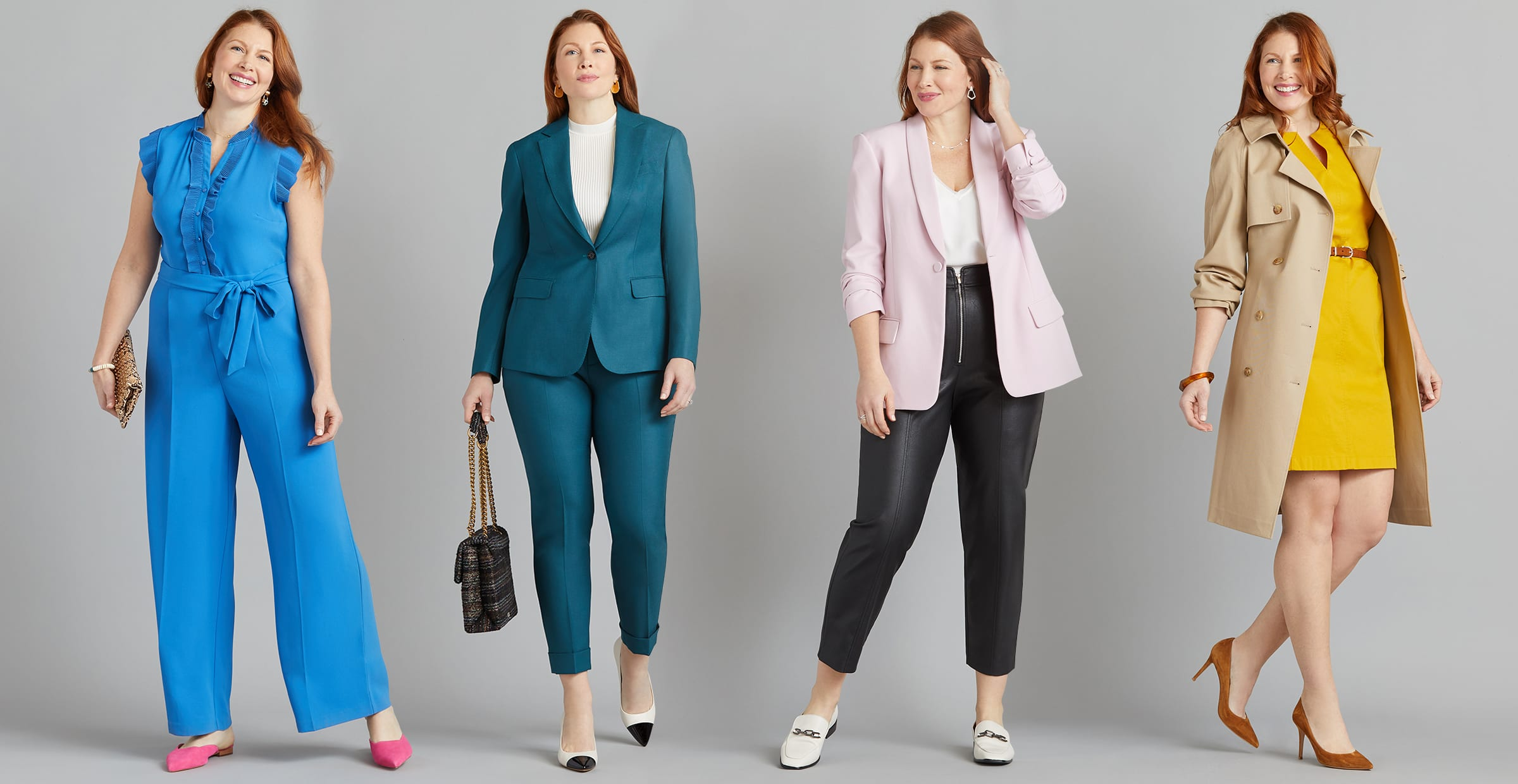 Woman wearing a suit and heels
