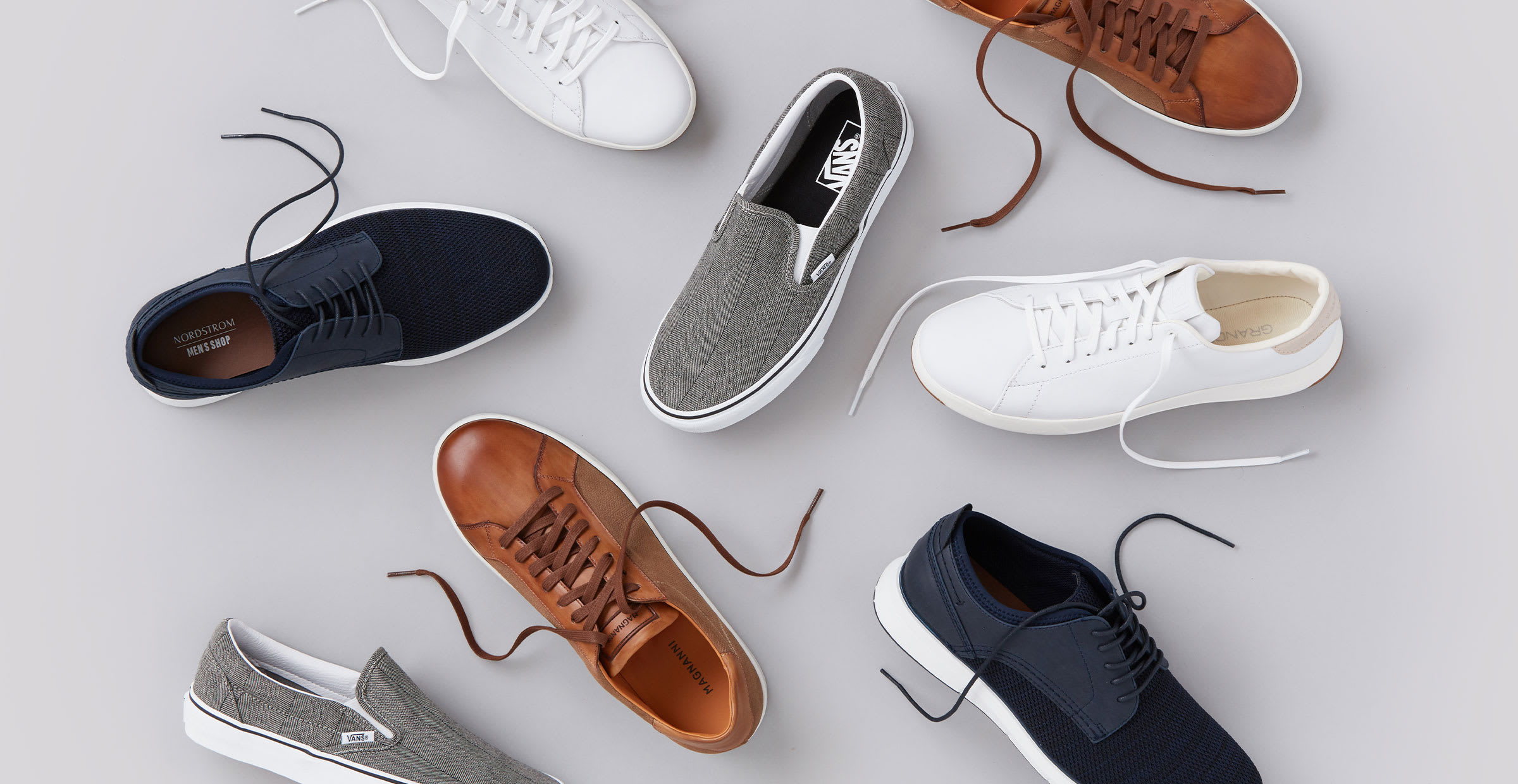 collection of men's summer shoes in all styles and colors