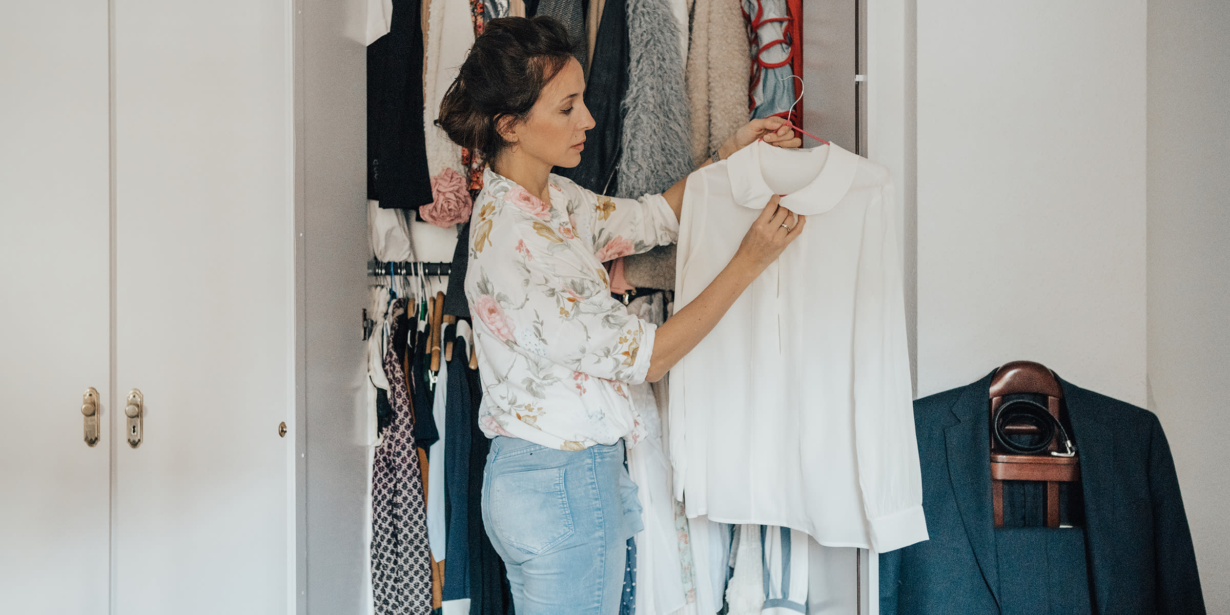 Woman refreshing wardrobe