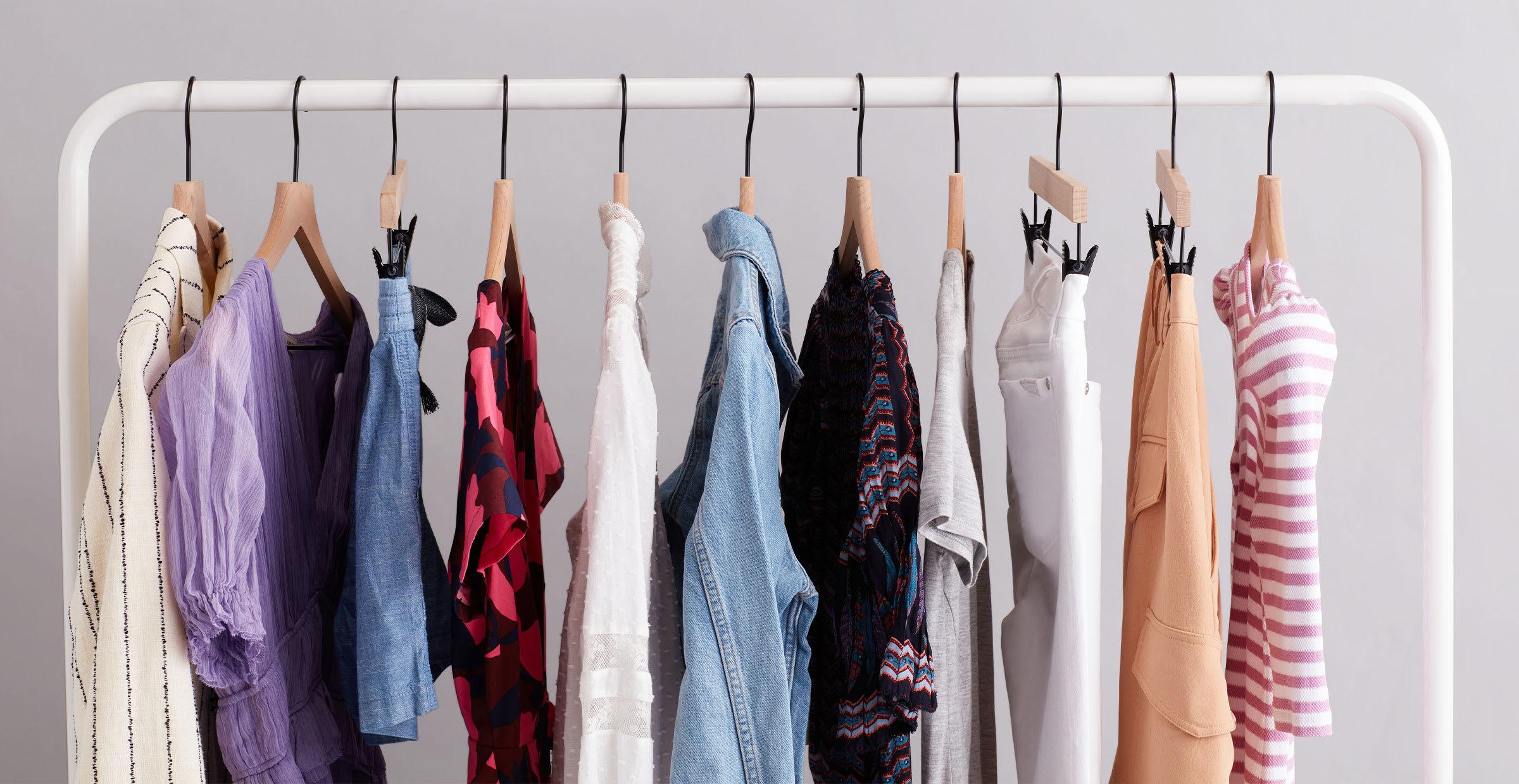 Sustainable clothing on rack