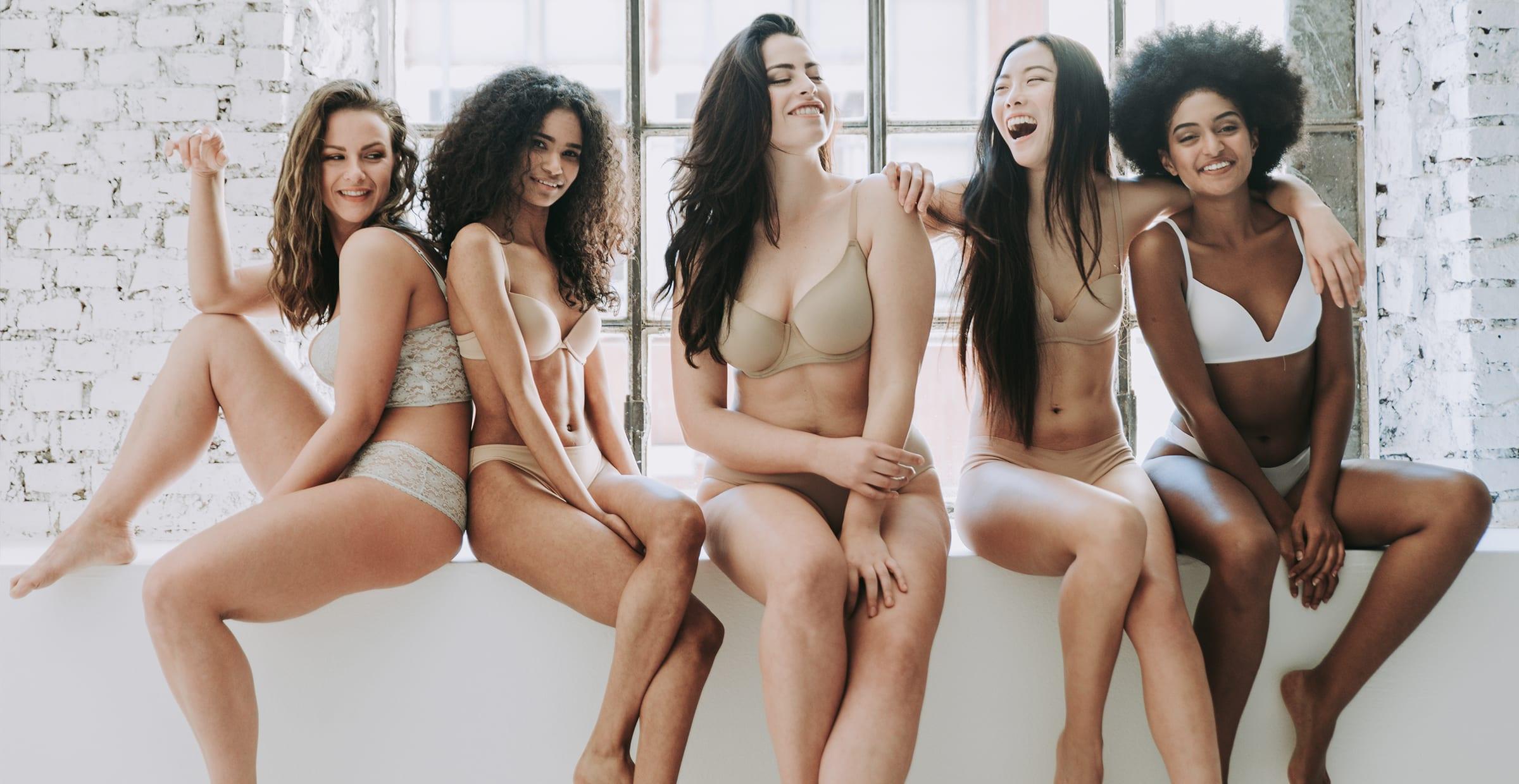 Women in different style bras