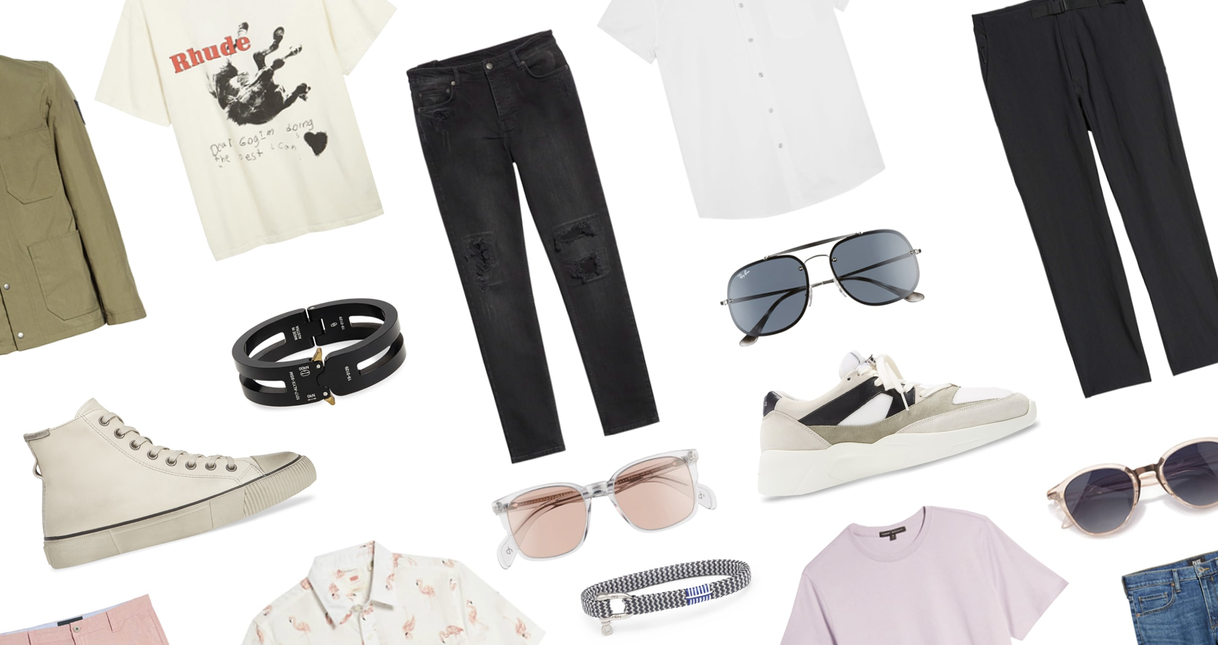 Collection of summer clothes and accessories