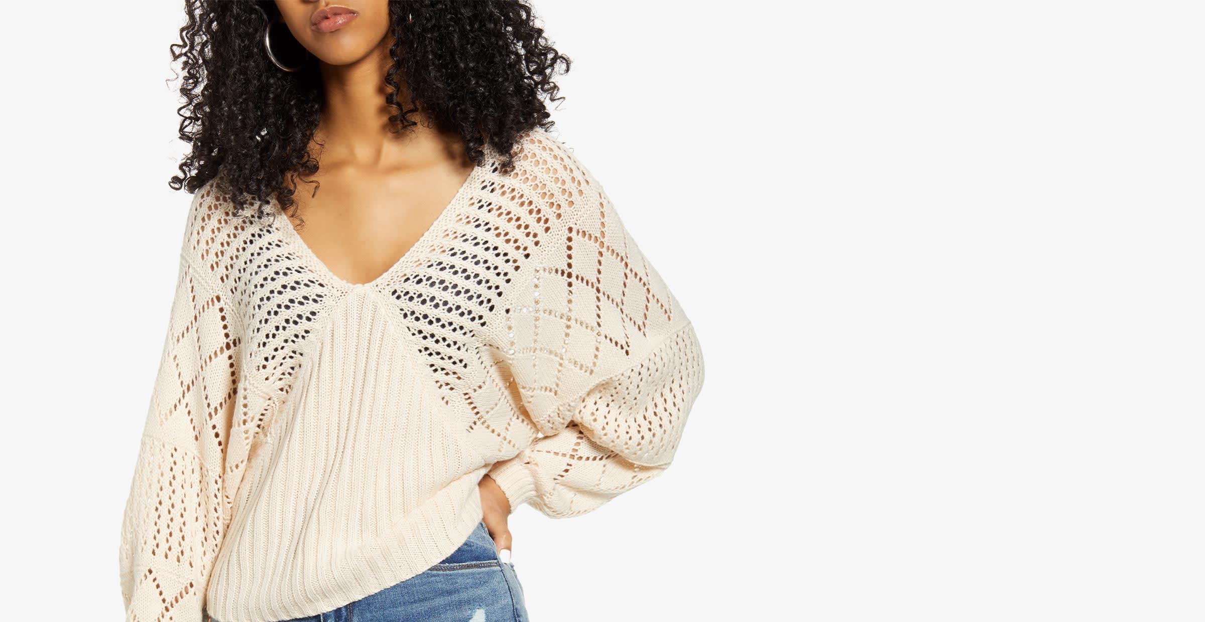 Women in a boho chic sweater