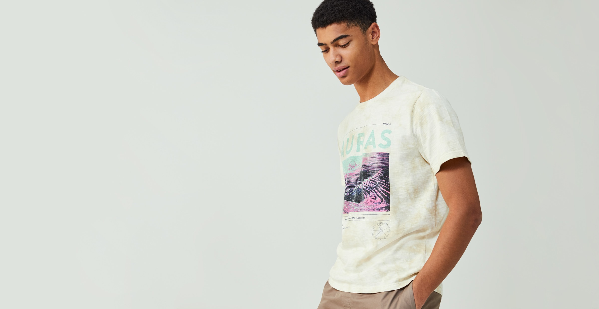 A man in a graphic tee