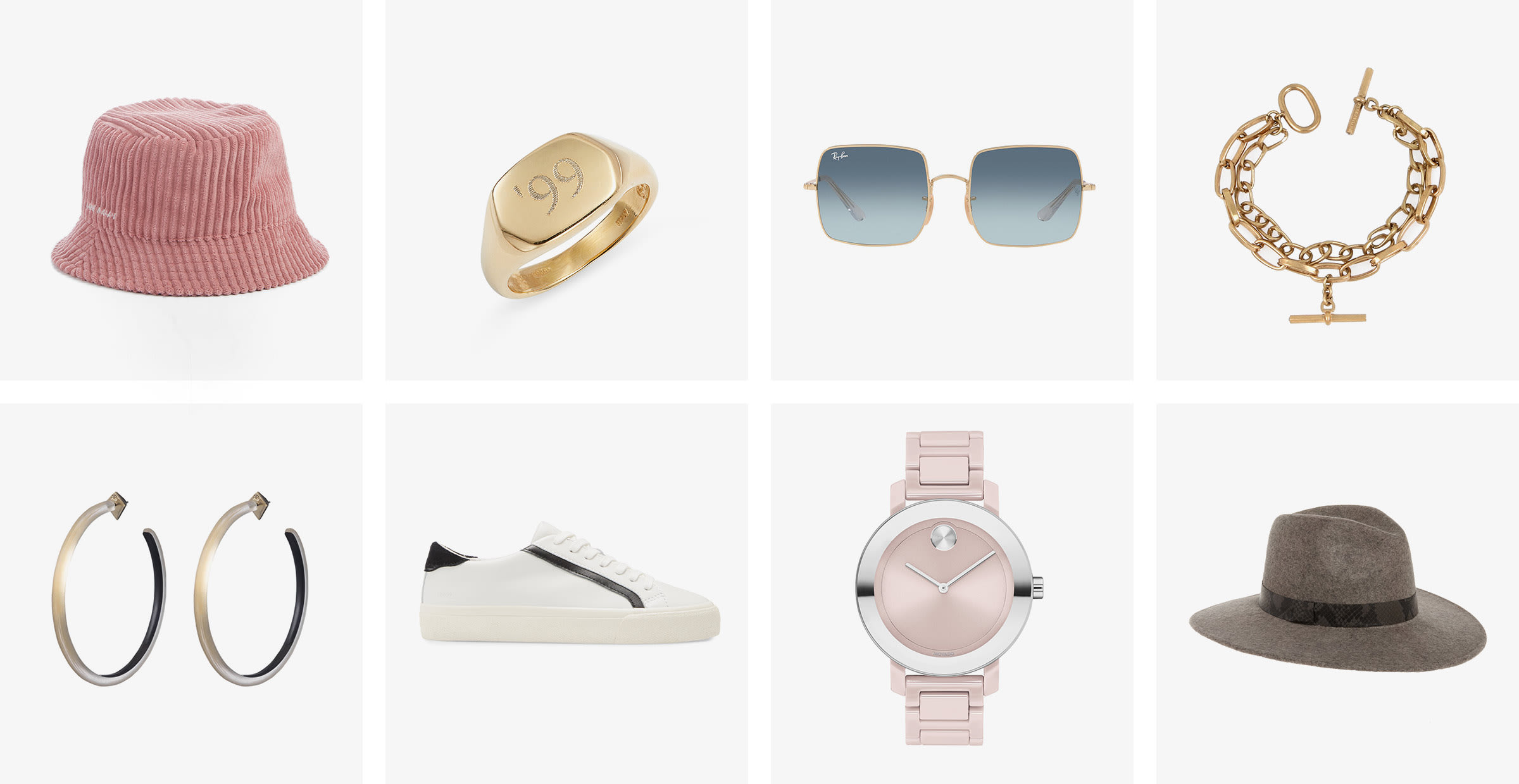 Accessorizing tips for women: watches, hat, earrings, sunglasses, jewelry