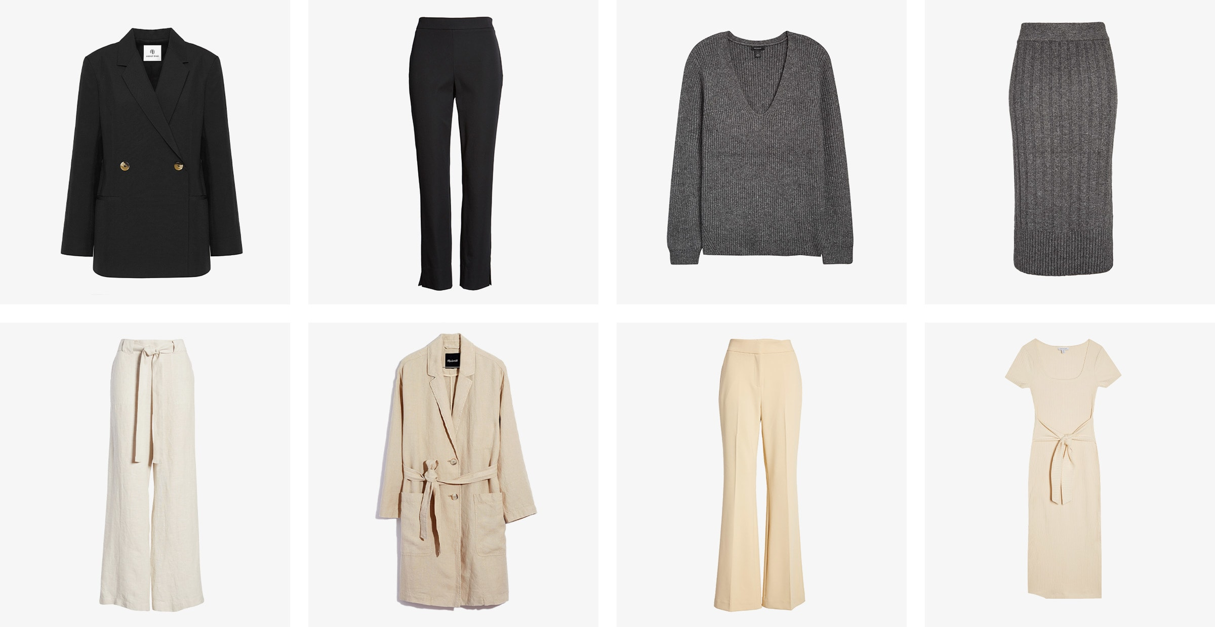 Women's neutral fall collection: blazer, sweater, skirt and a dress