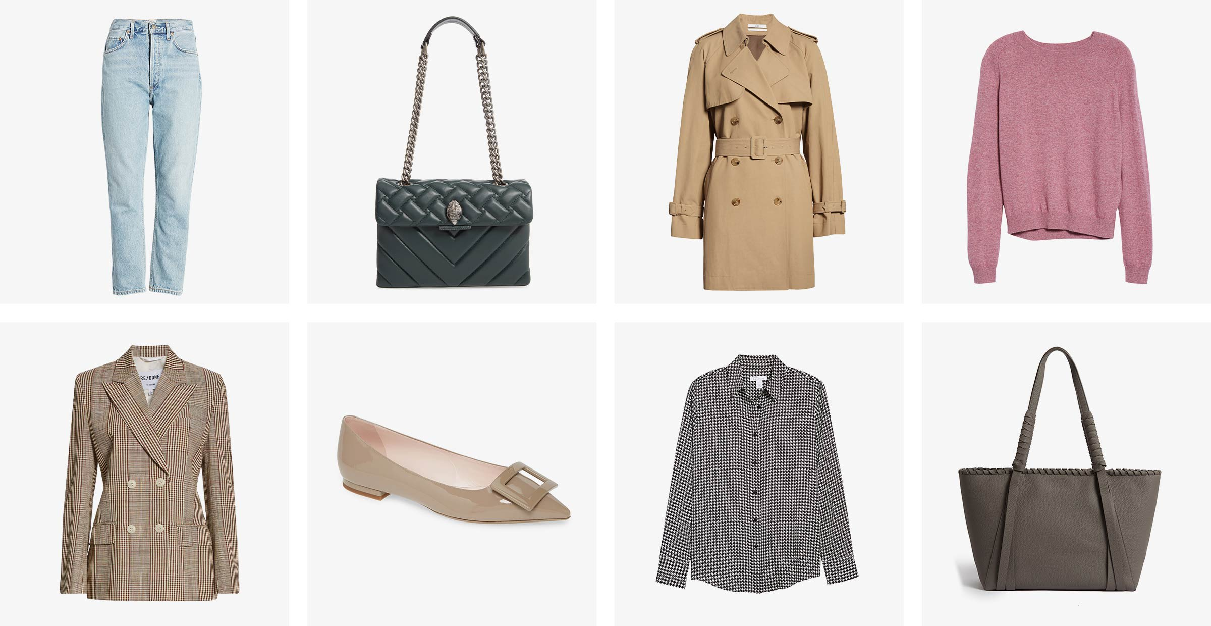 collection of women's clothing: jeans, blazer, trench coat, sweater etc...