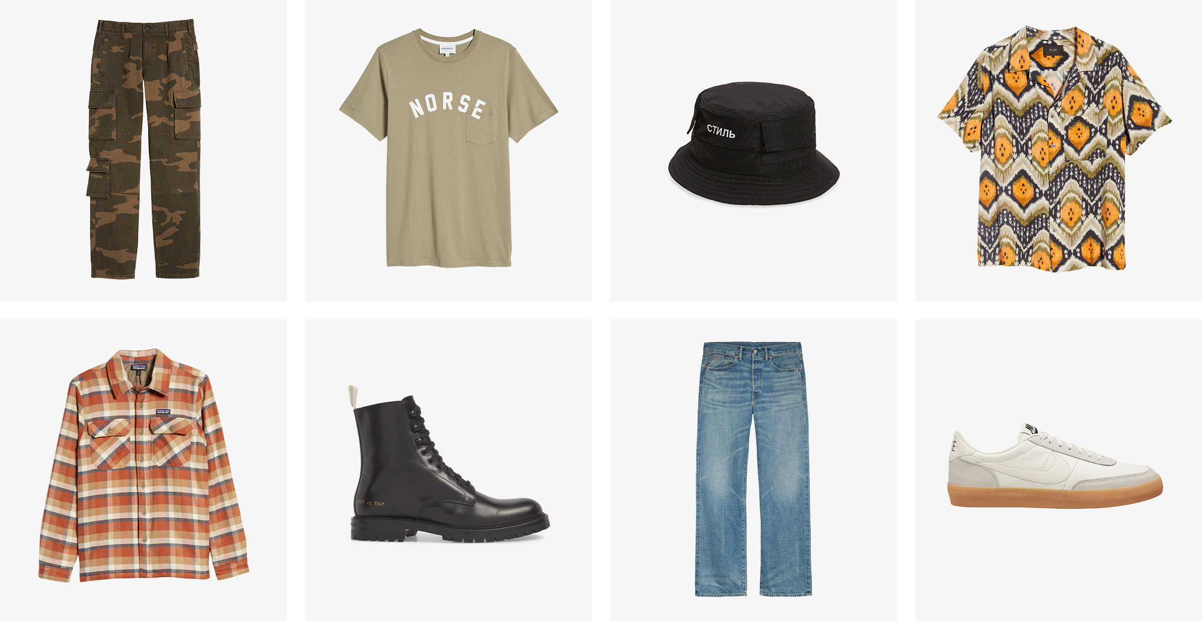 Mens fall fashion collection: pants, boots, jeans, long sleeve shirts