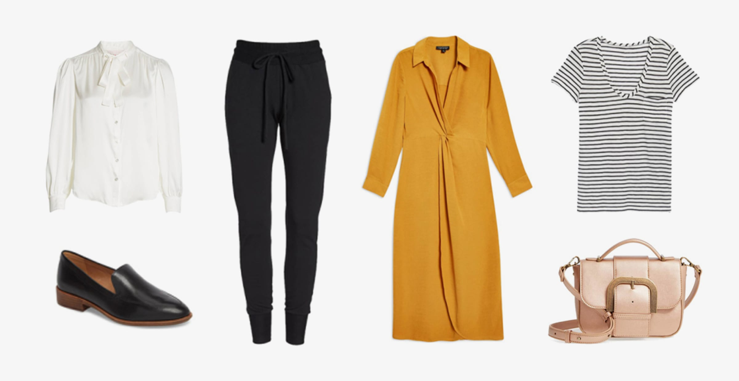 Women's Fall Wardrobe Pieces: blouse, trench coat, joggers, and loafers