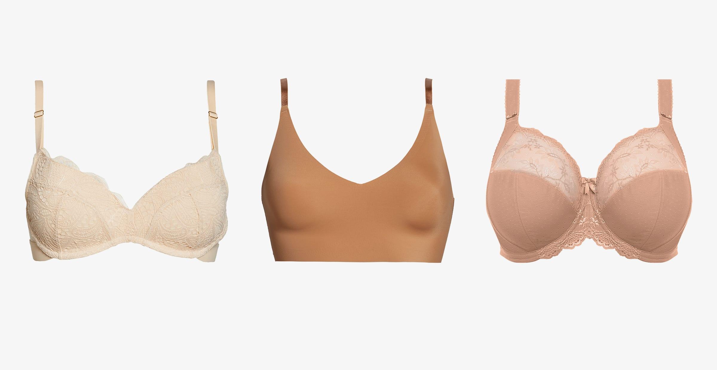 Women's white lace bra, nude bralette and full coverage bra