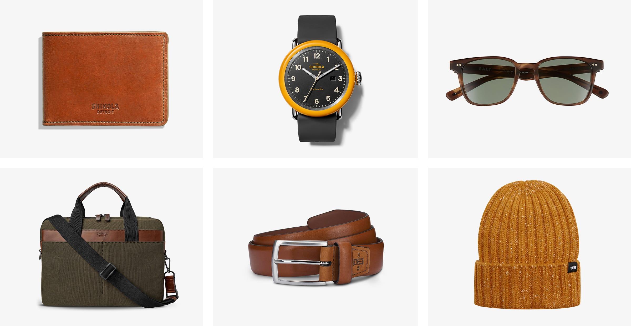 Men's accessories: wallet, sunglasses, watch, work bag, belt, and beanie