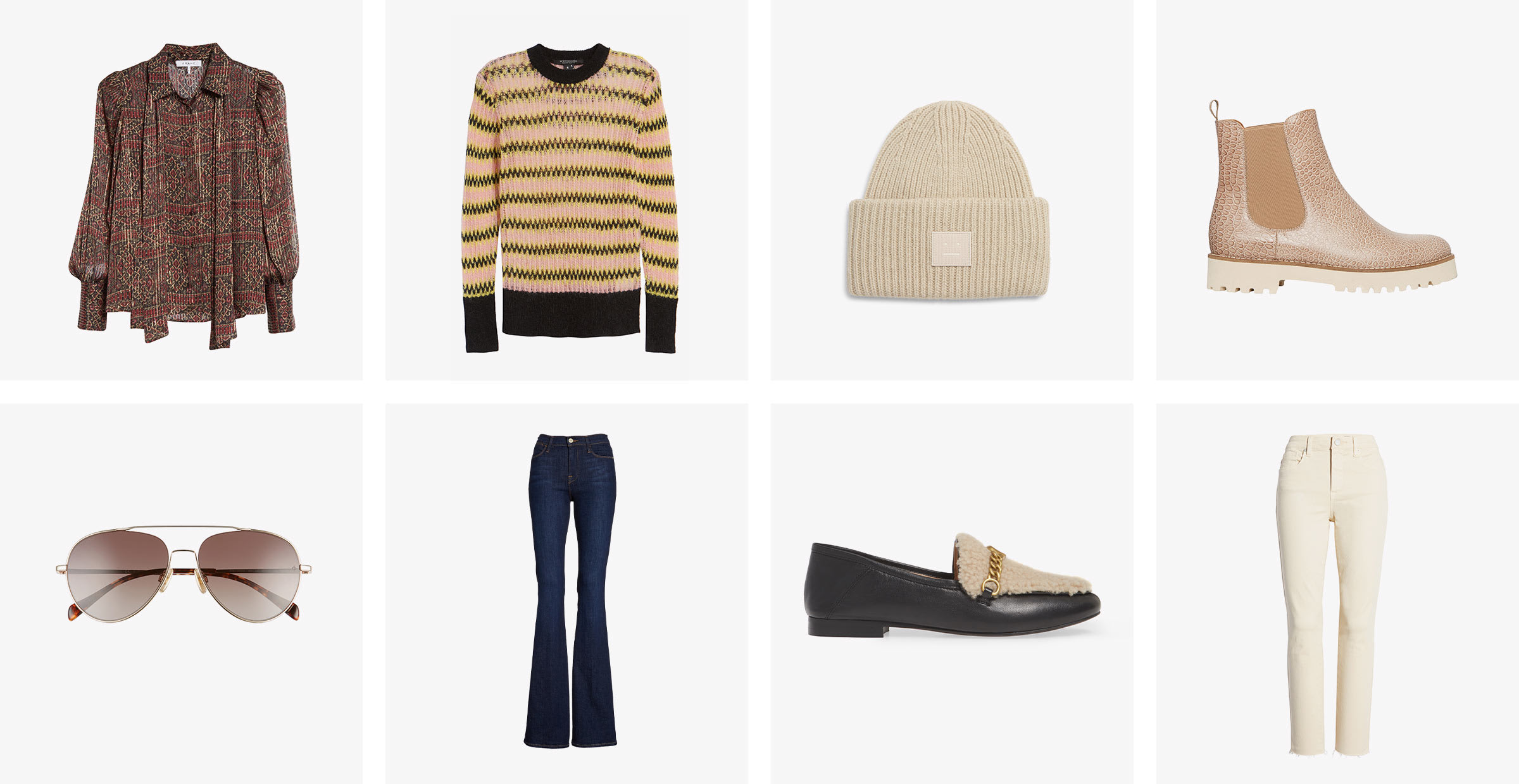 women's fall collection: jeans, shoes, hats, boots, sweaters