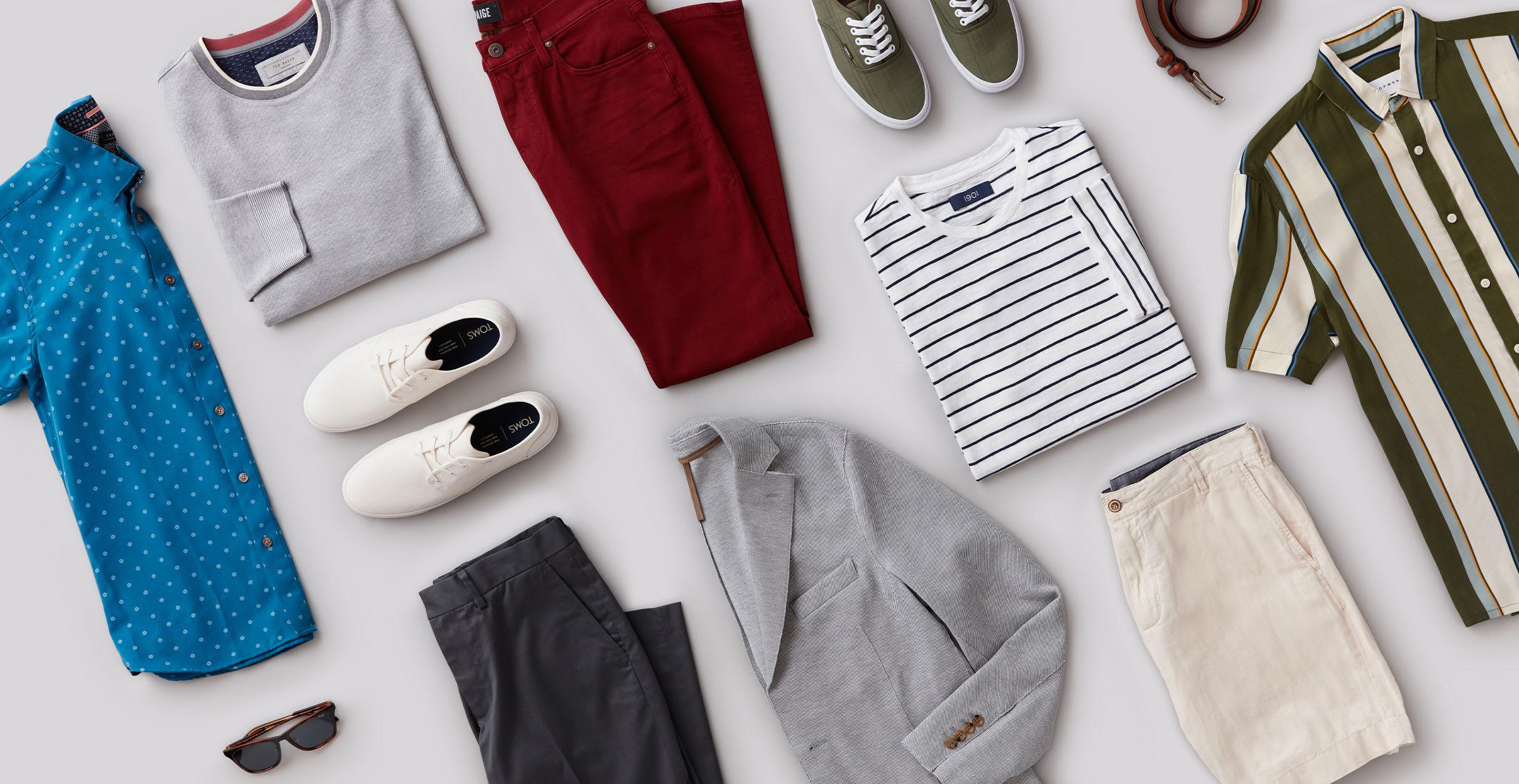 mens colorful wardrobe items