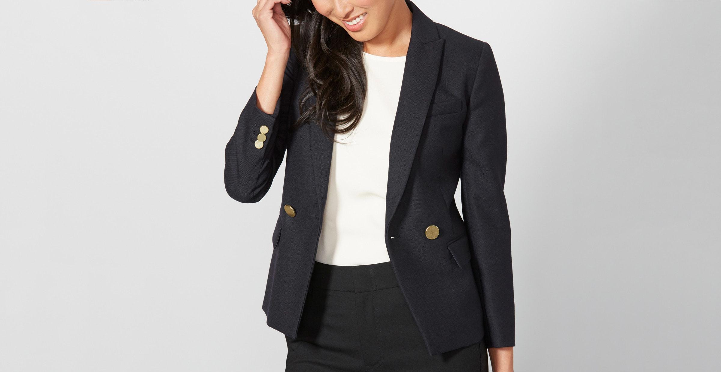 Women in a black one button blazer