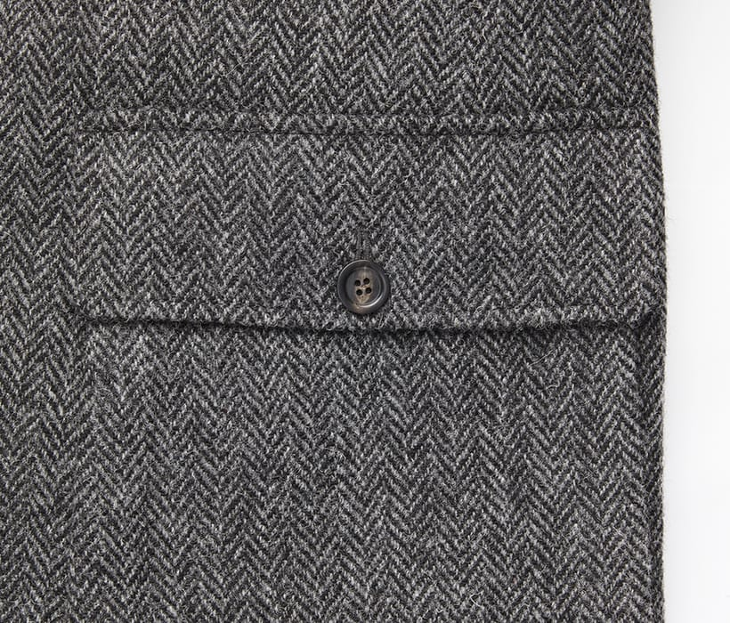 Outerwear pocket with functional flap and button