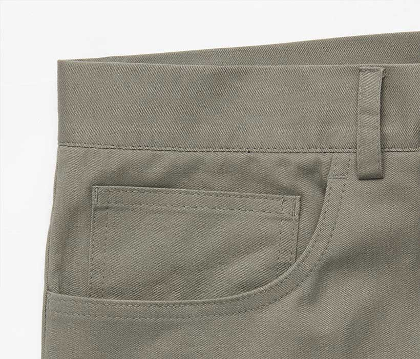 Flat-front chinos with five-pocket construction