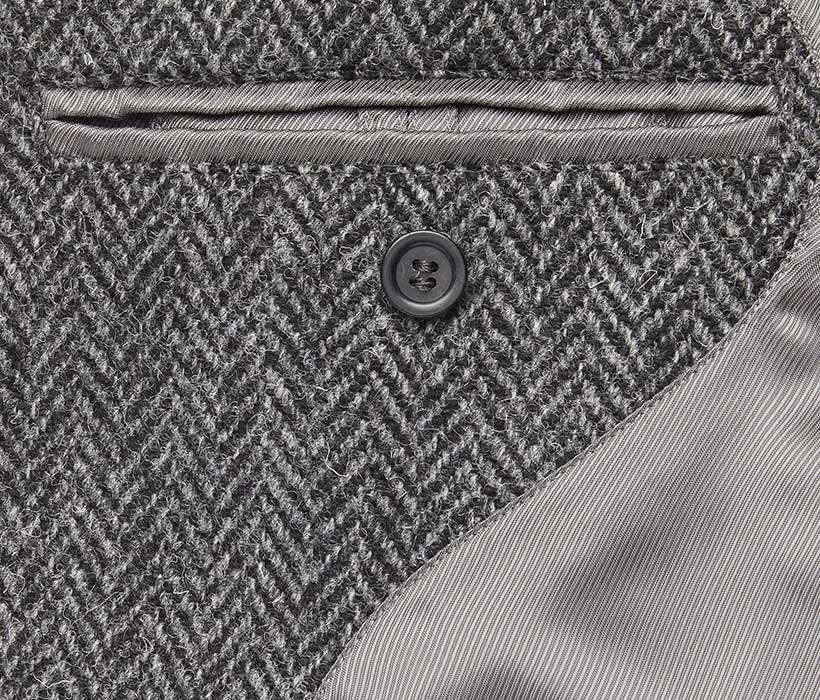 Interior coat pocket with functional button tab (tucked in)