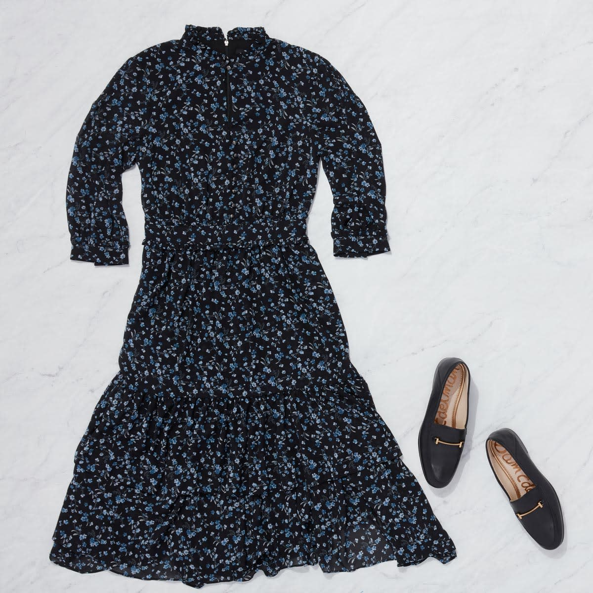 Floral Midi dress with loafers outfit