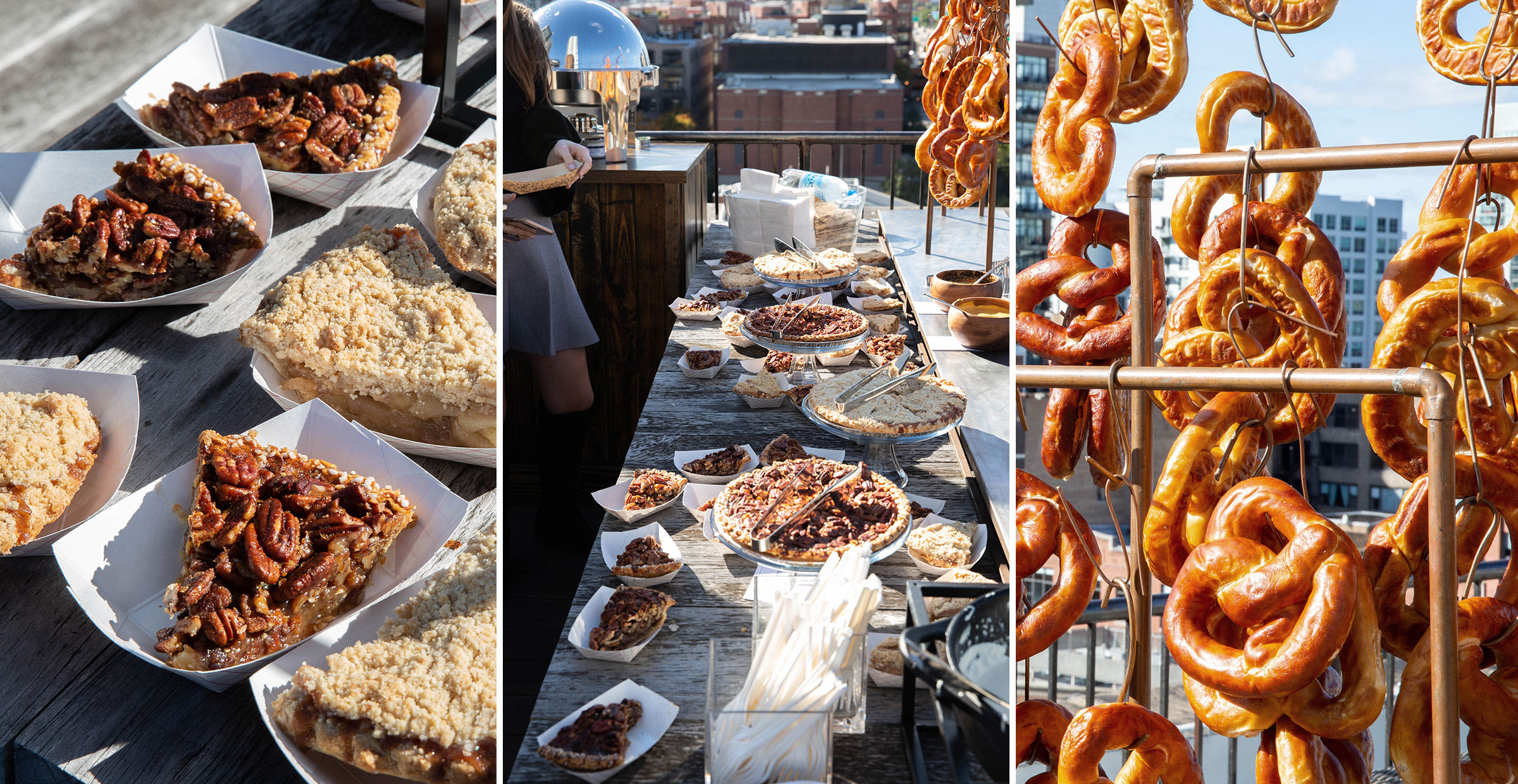 Food at the employee rooftop party at Trunk Club.