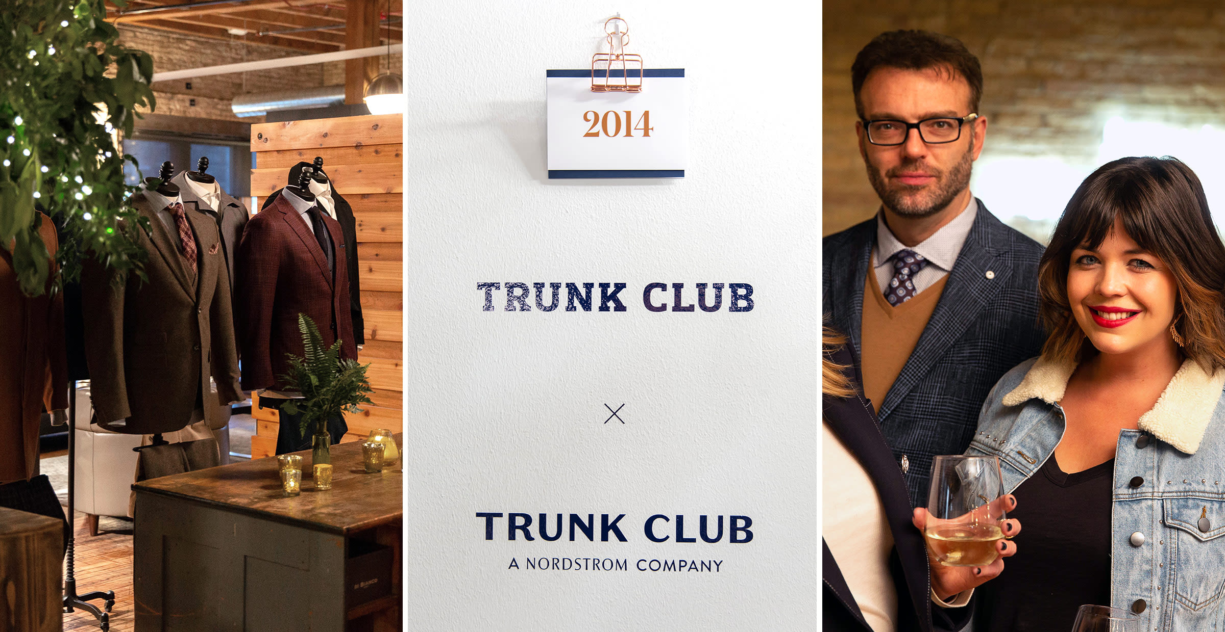 Party scenes and a group of influencers at a Trunk Club party in Chicago, Illinois.