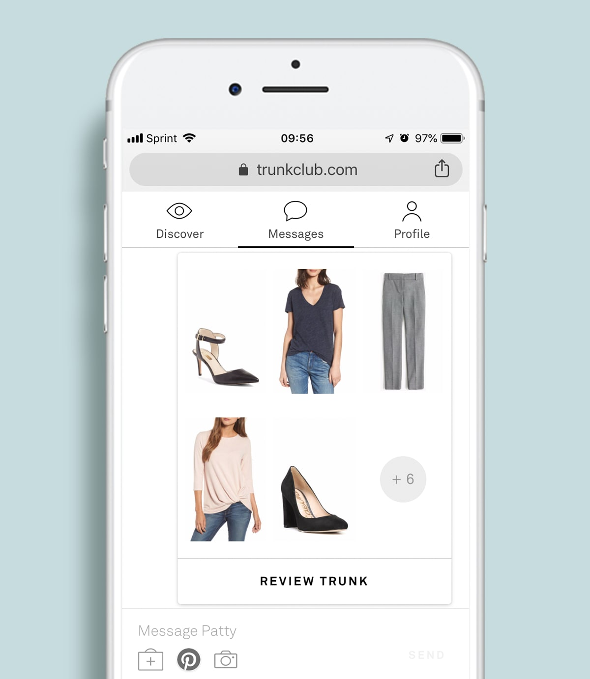 iPhone with a mobile screen from the Trunk Club app.