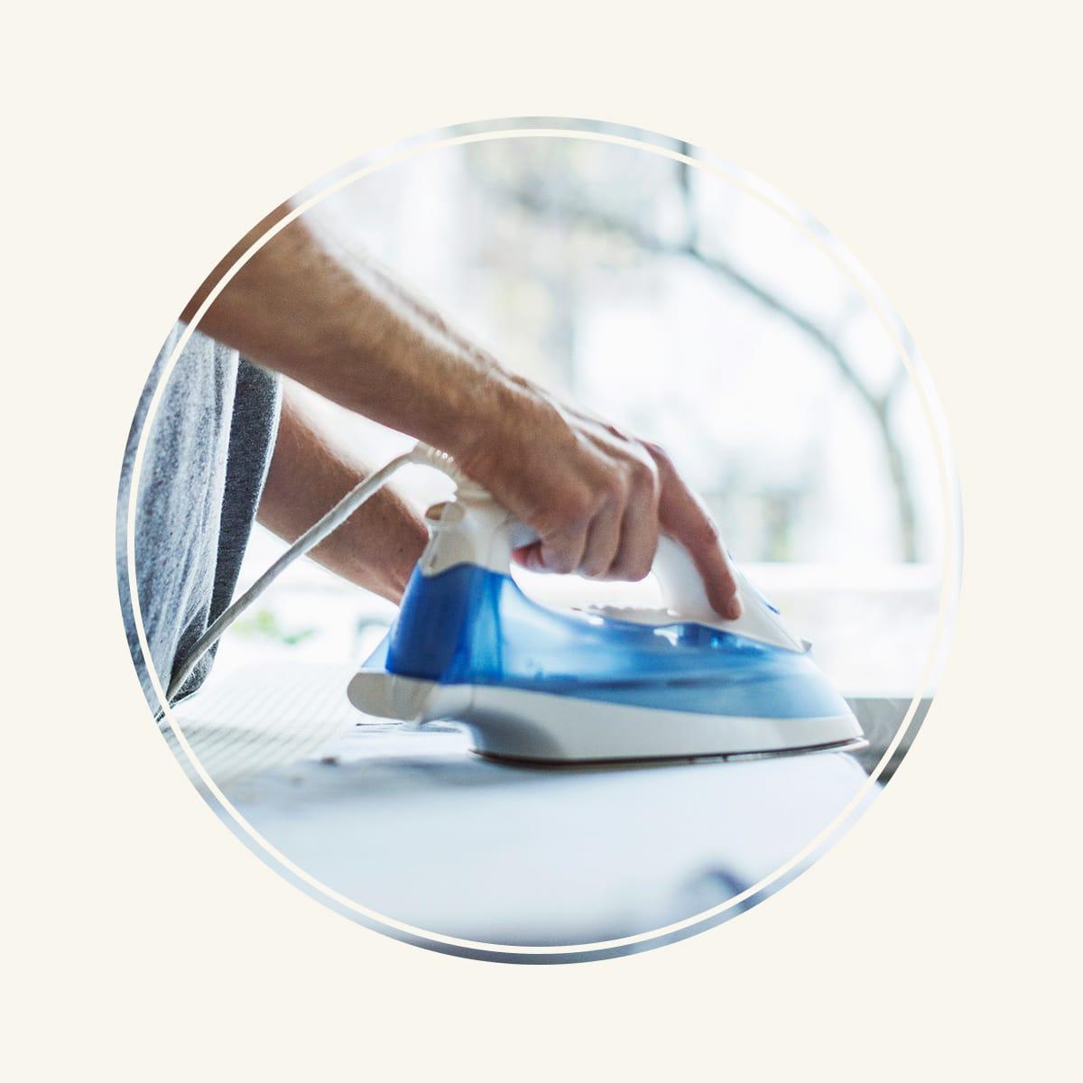 ironing a dress shirt