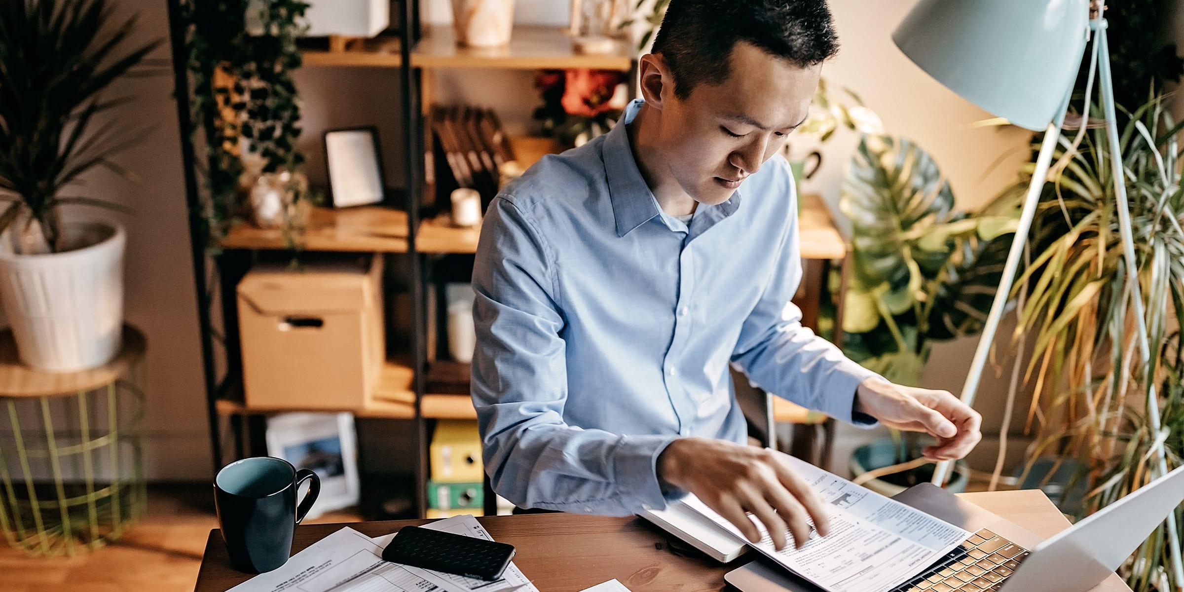 Man researching how to live more sustainably