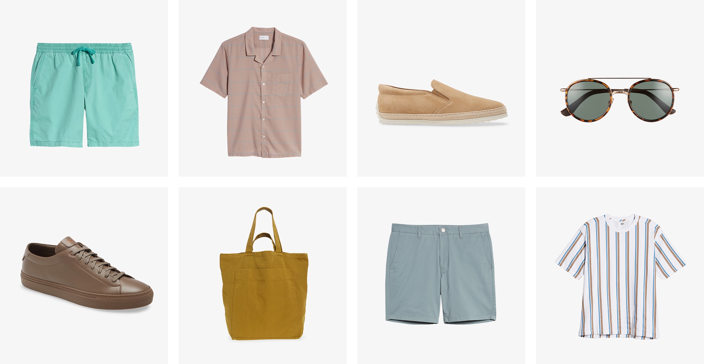 Men's mint shorts, a button-up shirt, slip-on shoes, sunglasses, sneakers, tote, blue shorts and striped T-shirt.