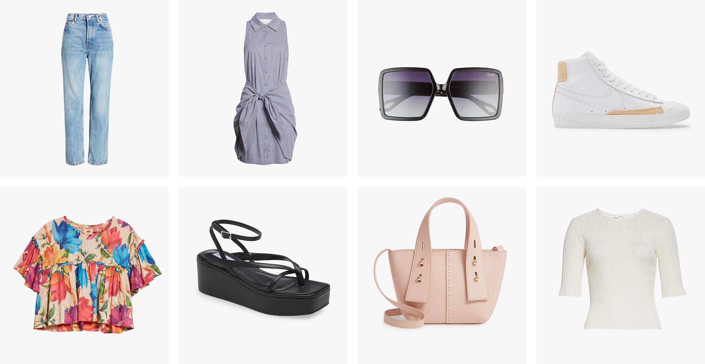 Women's jeans, shirtdress, sunglasses, sneaker, cropped top, sandal, handbag and knit top.
