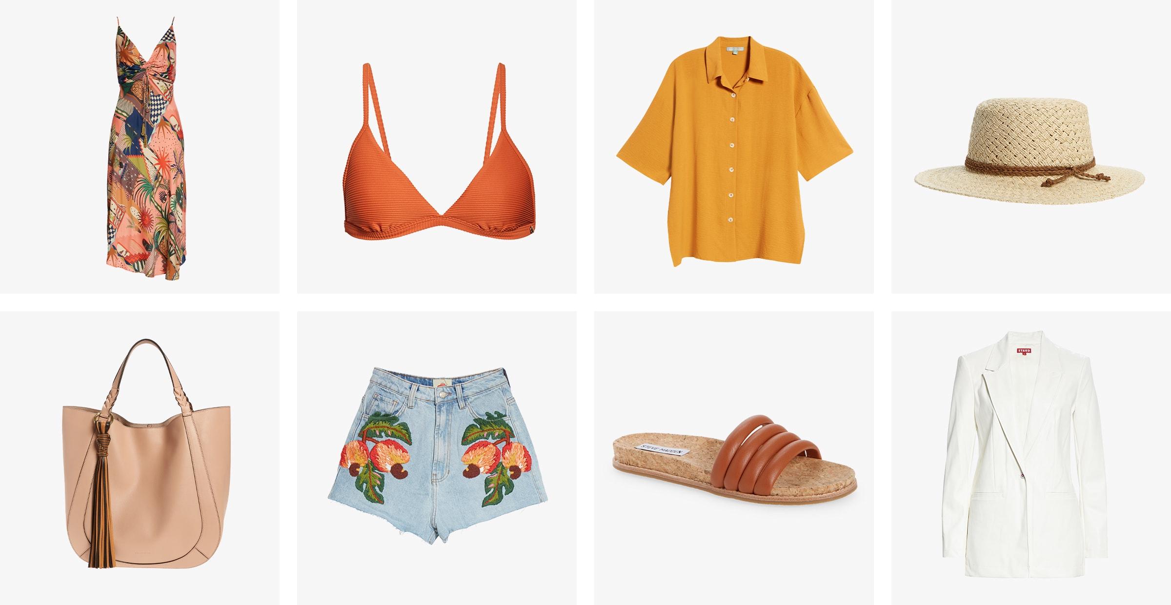 Printed dress, orange bikini top, button-up, straw hat, handbag, denim shorts, sandals and white blazer.