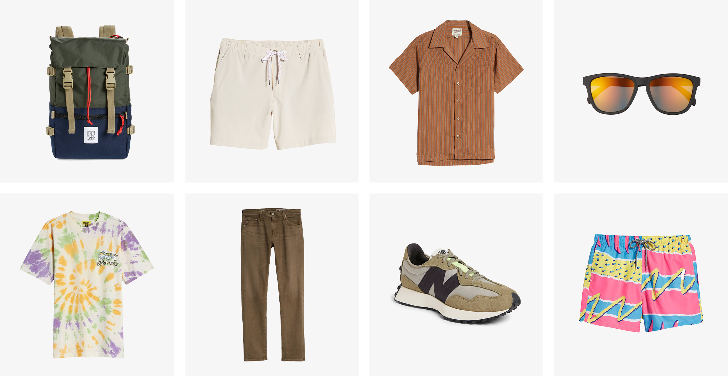 A backpack, men's shorts, button-up shirt, baseball cap, tie-dyed T-shirt, pants, sneakers and swim trunks.