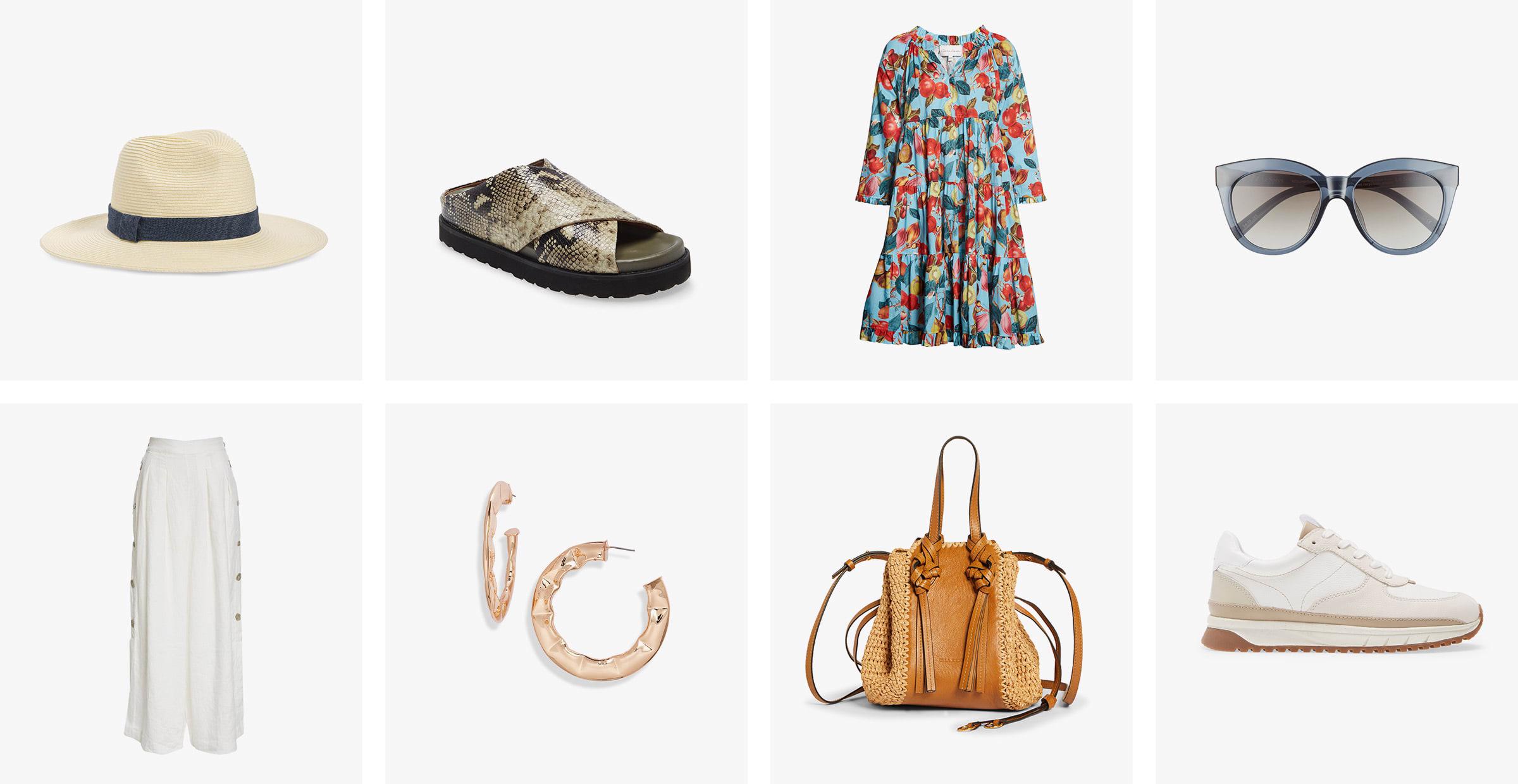 A women's straw hat, sandals, print dress, sunglasses, white pants, hoop earrings, handbag and white sneakers.