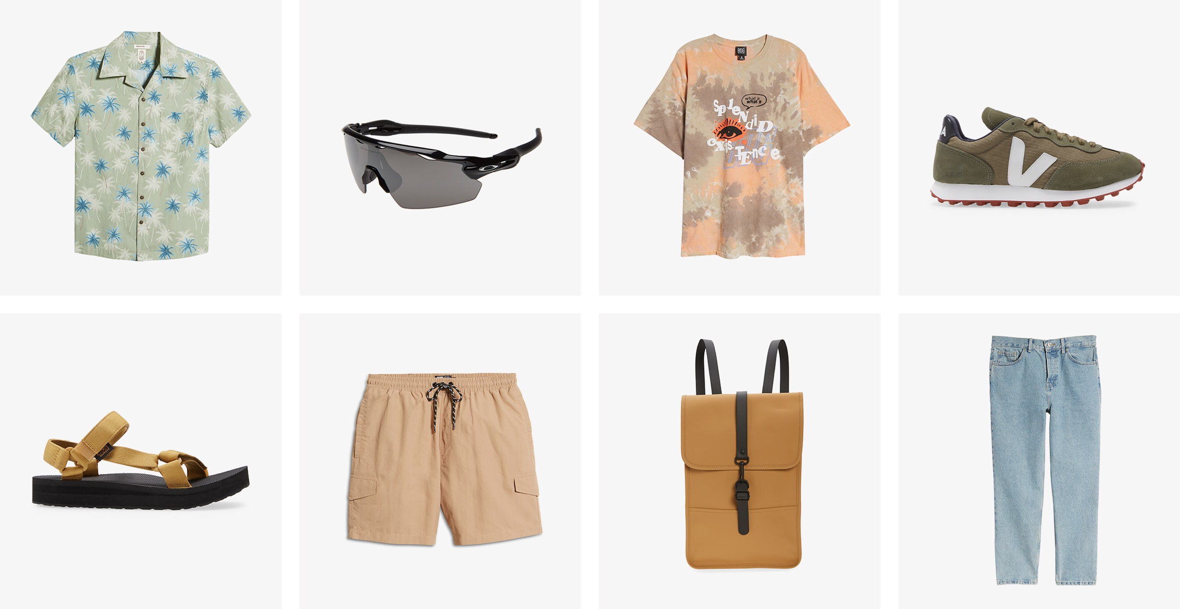 A men's printed button-up, sunglasses, graphic tee, sneakers, sandals, brown shorts, backpack and light-wash jeans.