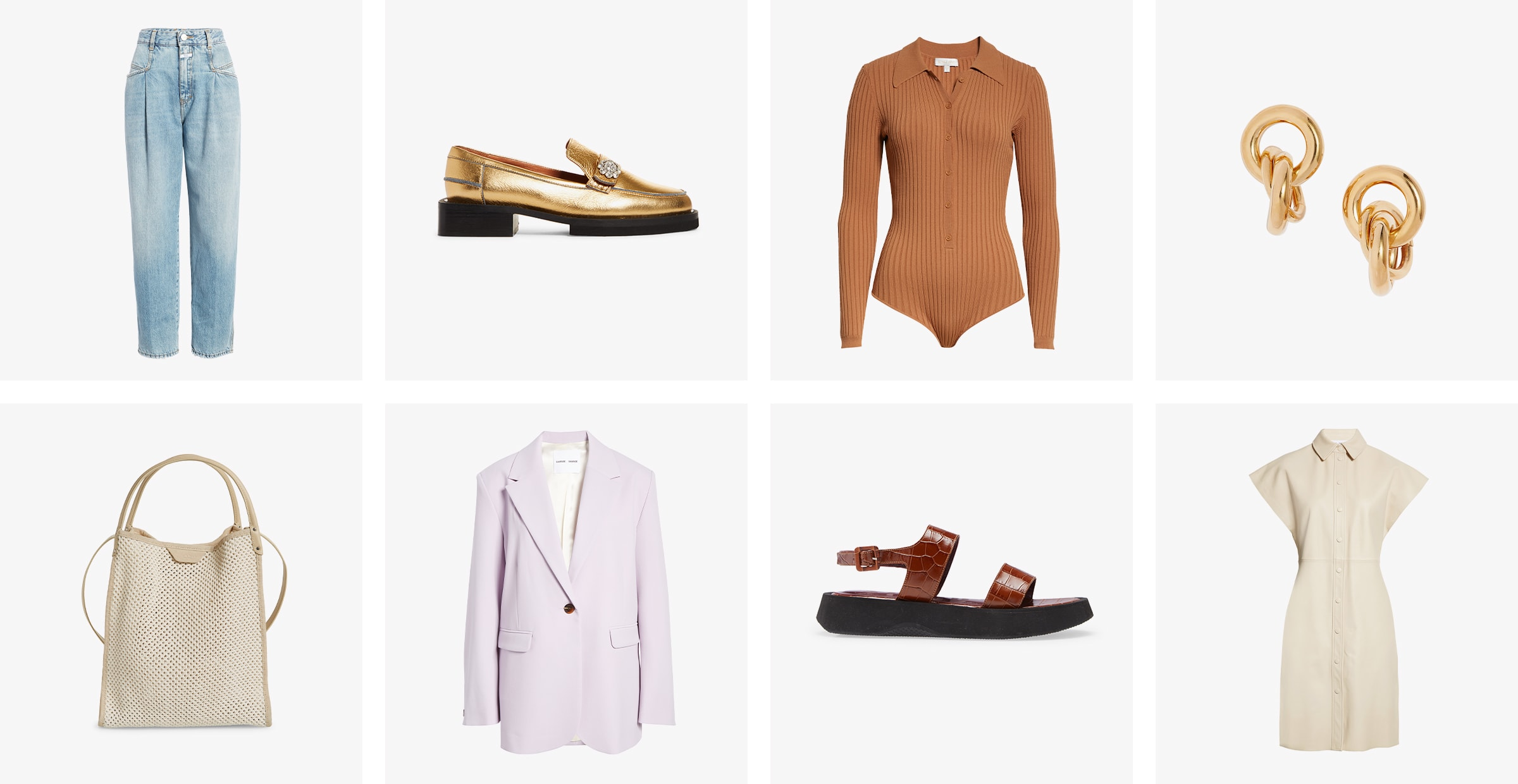 Women's jeans, gold loafers, orange bodysuit, earrings, white handbag, purple blazer, brown sandals and white dress.