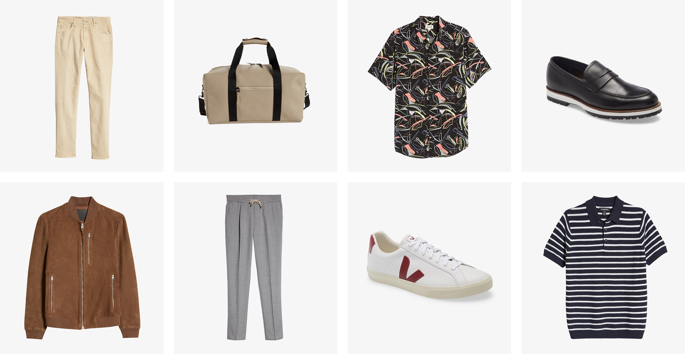 Men's chinos, sunglasses, a button-up, black loafers, a brown bomber jacket, grey trousers, white sneakers and a T-shirt.