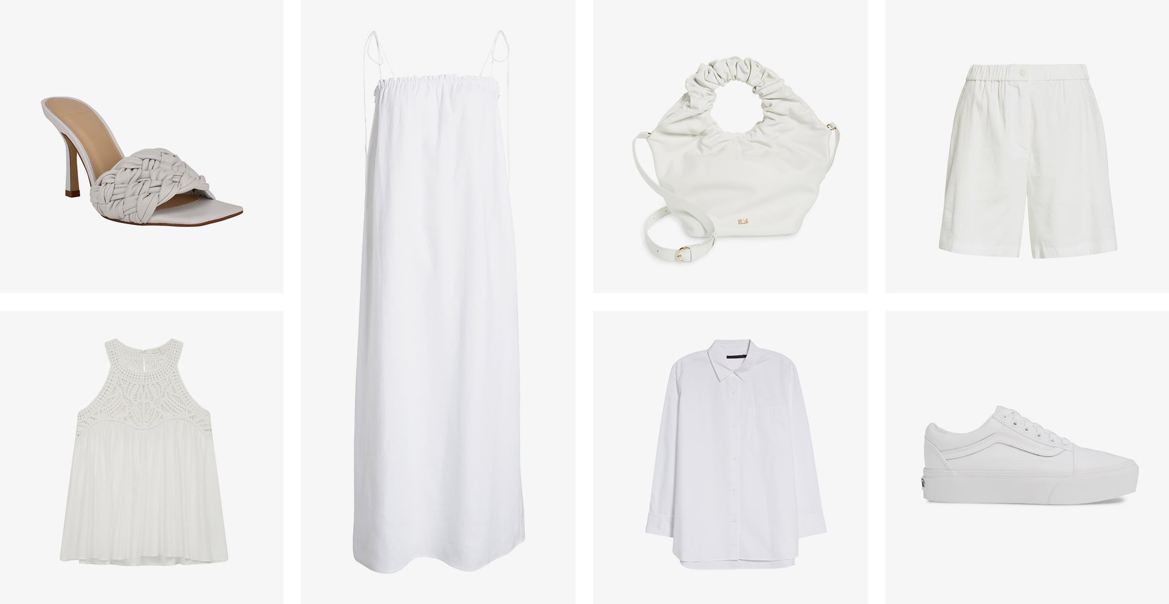 A sandal, a tank top, a sundress, a handbag, a sneaker, shorts and a button-up shirt.