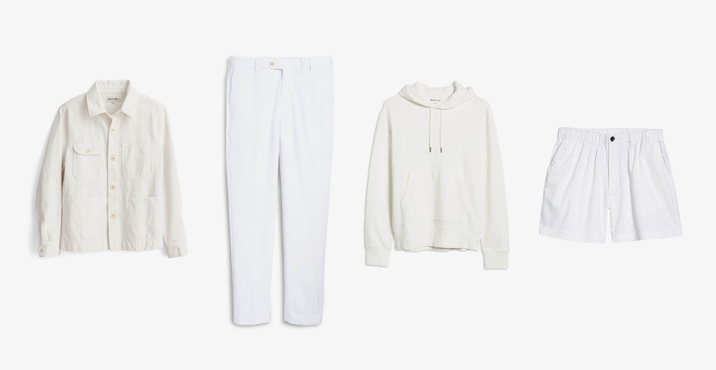 A jacket, pants, hoodie and shorts, all in varying shades of white.