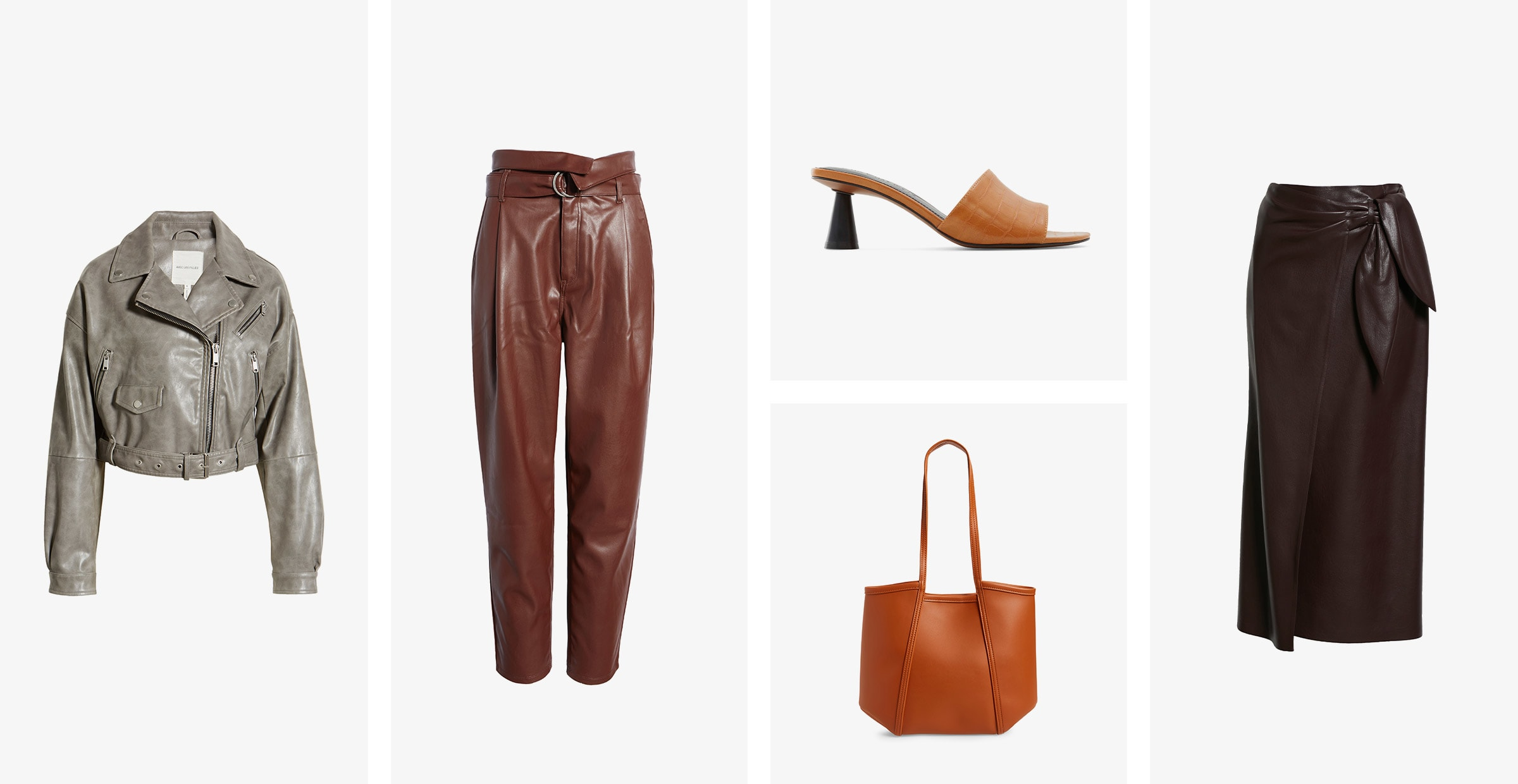 A collection of faux-leather items including a grey moto jacket, dark-brown trousers, tan sandals, a black midi skirt and a brown tote.