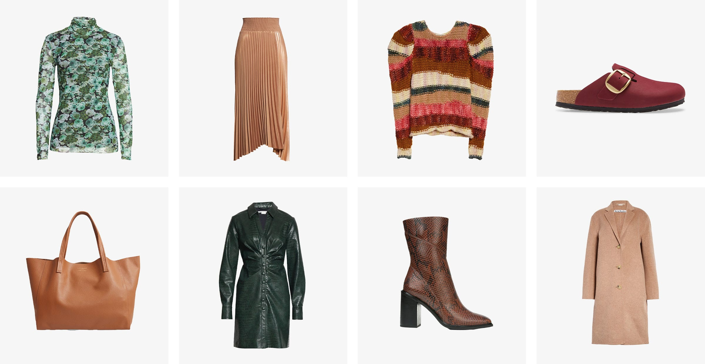 A green floral turtleneck, a pleated brown skirt, a multicolored sweater, brown Birkenstocks, a brown tote, a dark-green leather dress, a brown boot and a tan coat.