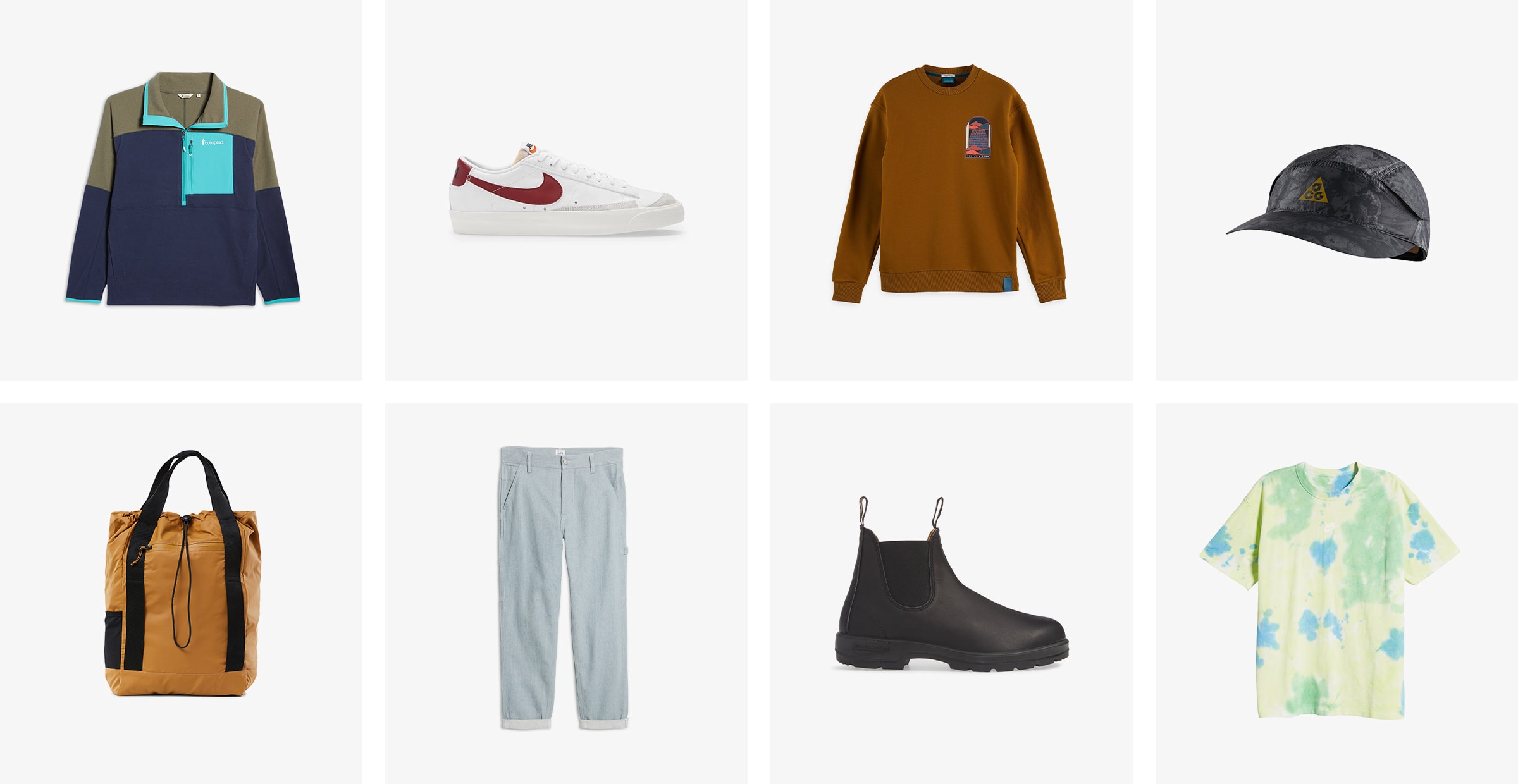 A color-blocked fleece pullover, white sneakers, a brown sweatshirt, a black cap, an orange tote, light-wash jeans, black boots and a tie-dyed T-shirt.