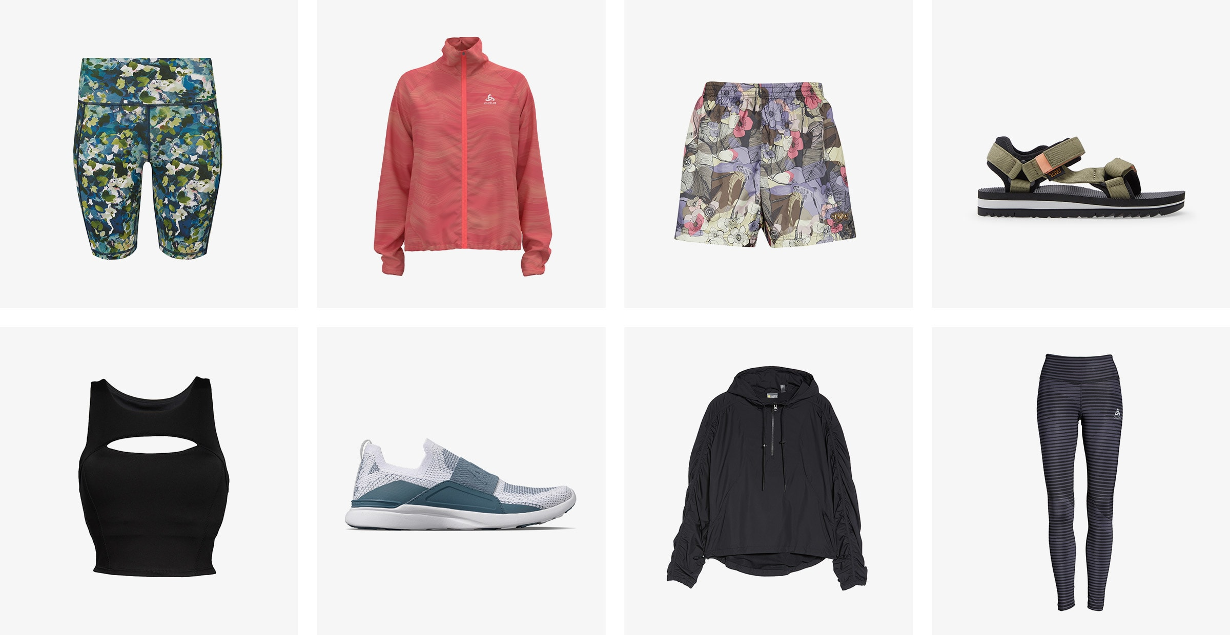 Foral bike shorts, a red windbreaker, multicolored shorts, green sandals, a black longline sports bra, blue running shoes and a black hoodie.