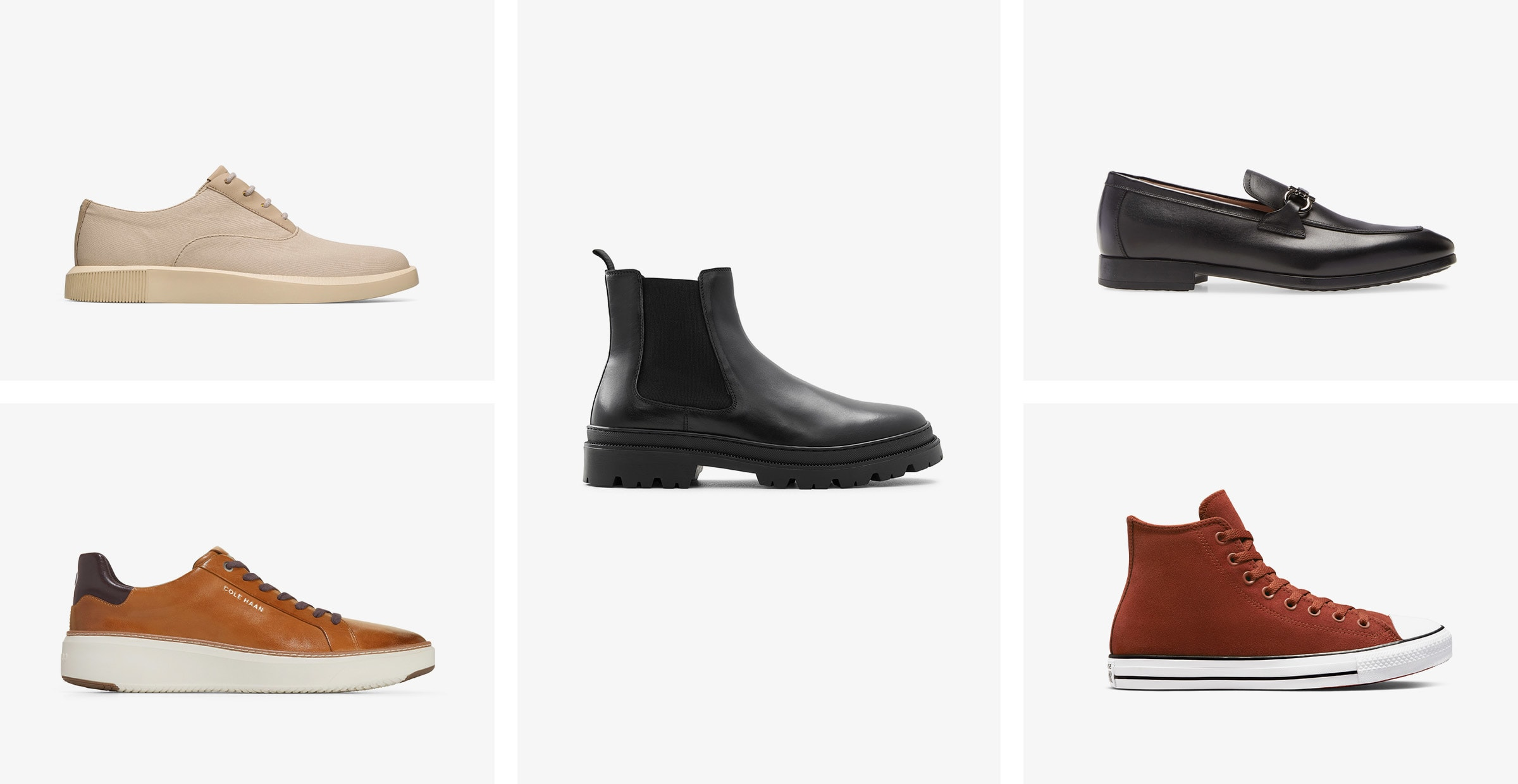 A beige lace-up, a tan sneaker with a white sole, a black Chelsea boot, a black loafer and a brown high-top sneaker.