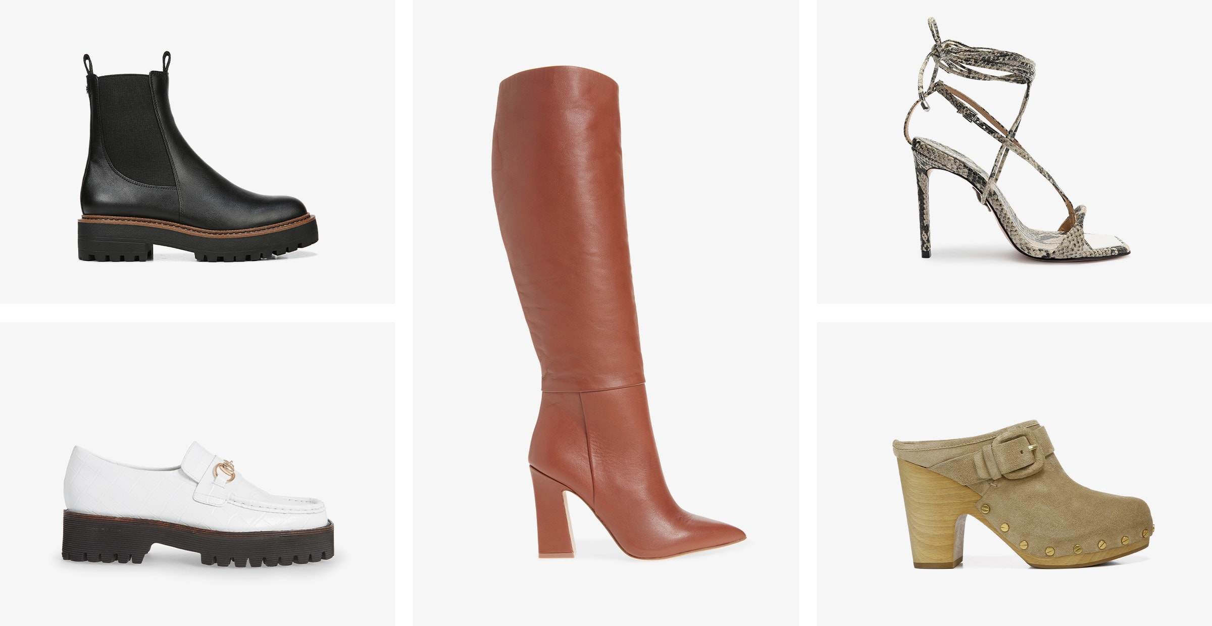 A black Chelsea boot, a white loafer, a brown boot, a snake-print stiletto with an ankle wrap and a tan clog.