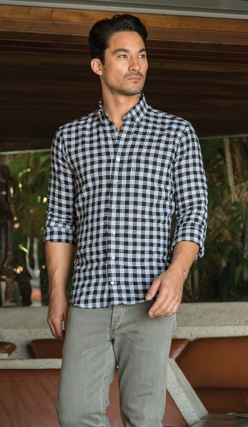 Classic casual look - button down shirt and slim fit chinos.