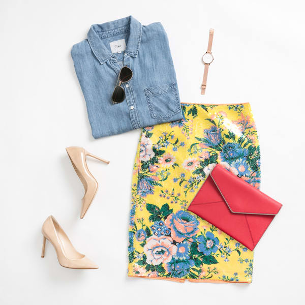 Women's Denim Shirt and Floral Skirt Outfit