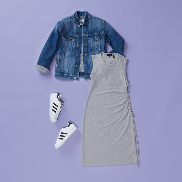 Casual dress, jean jacket and sneakers